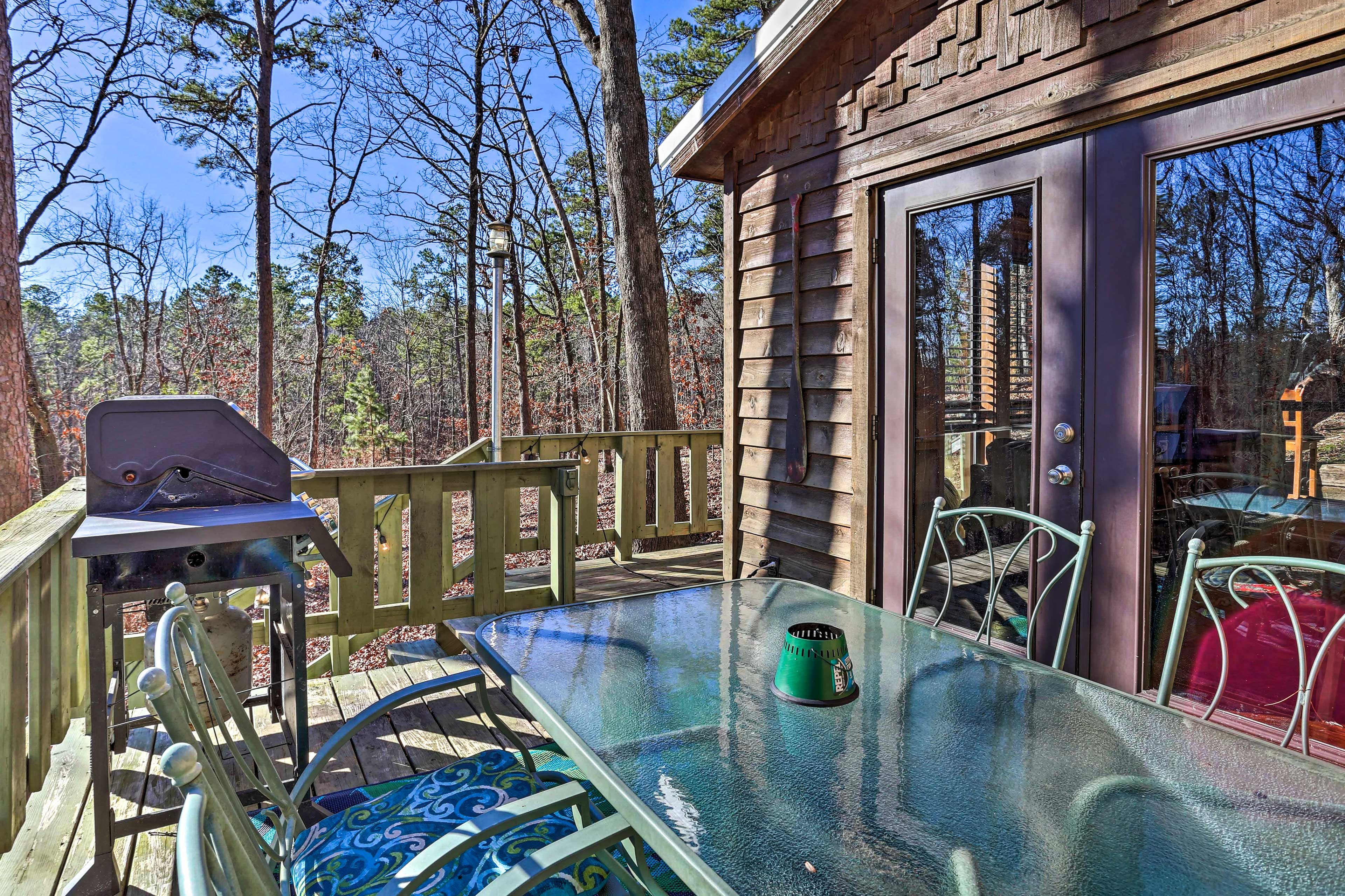 Step outside to enjoy a barbecue on the deck.