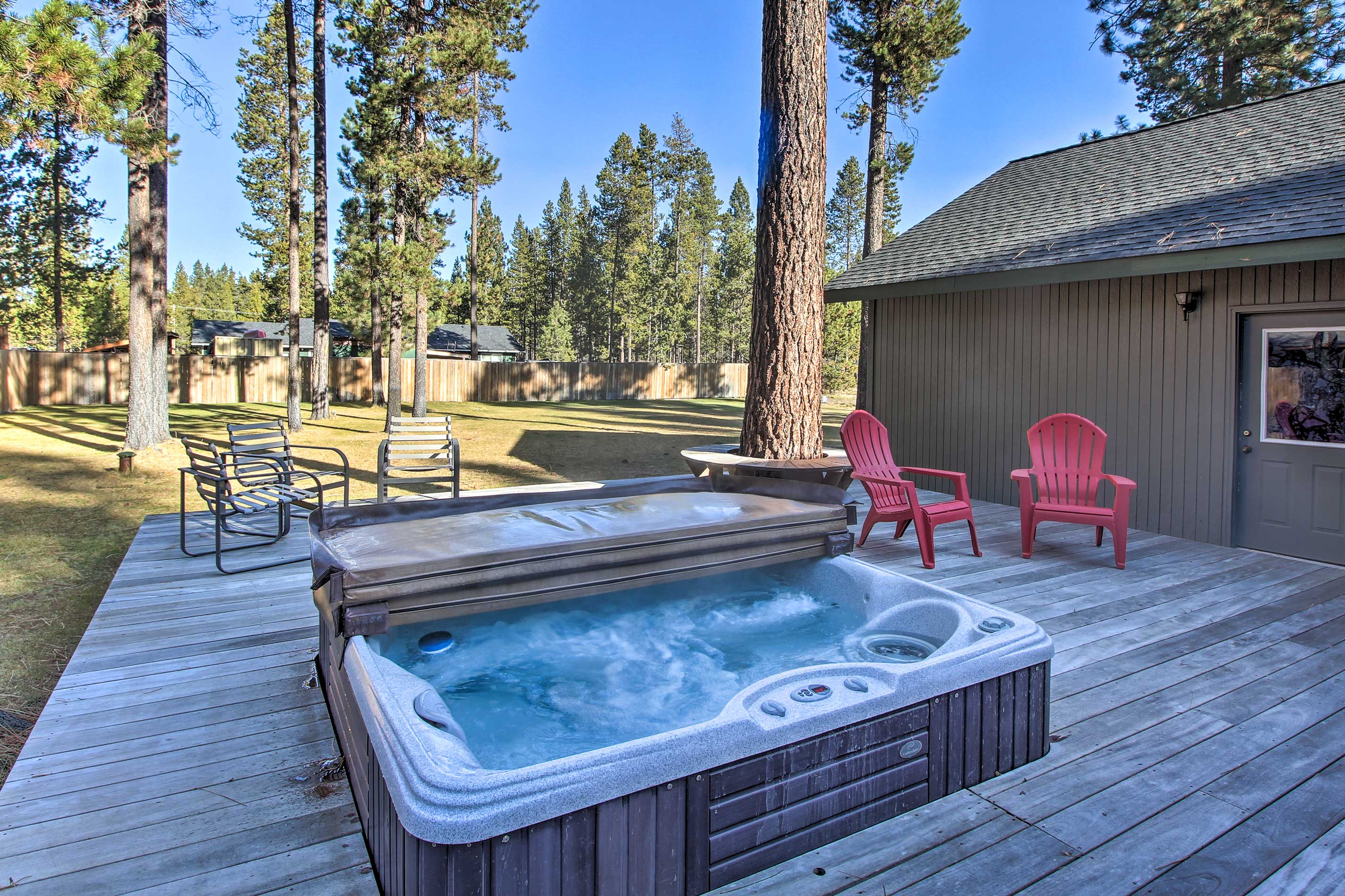 Admire the picturesque views from the privacy of your own hot tub.
