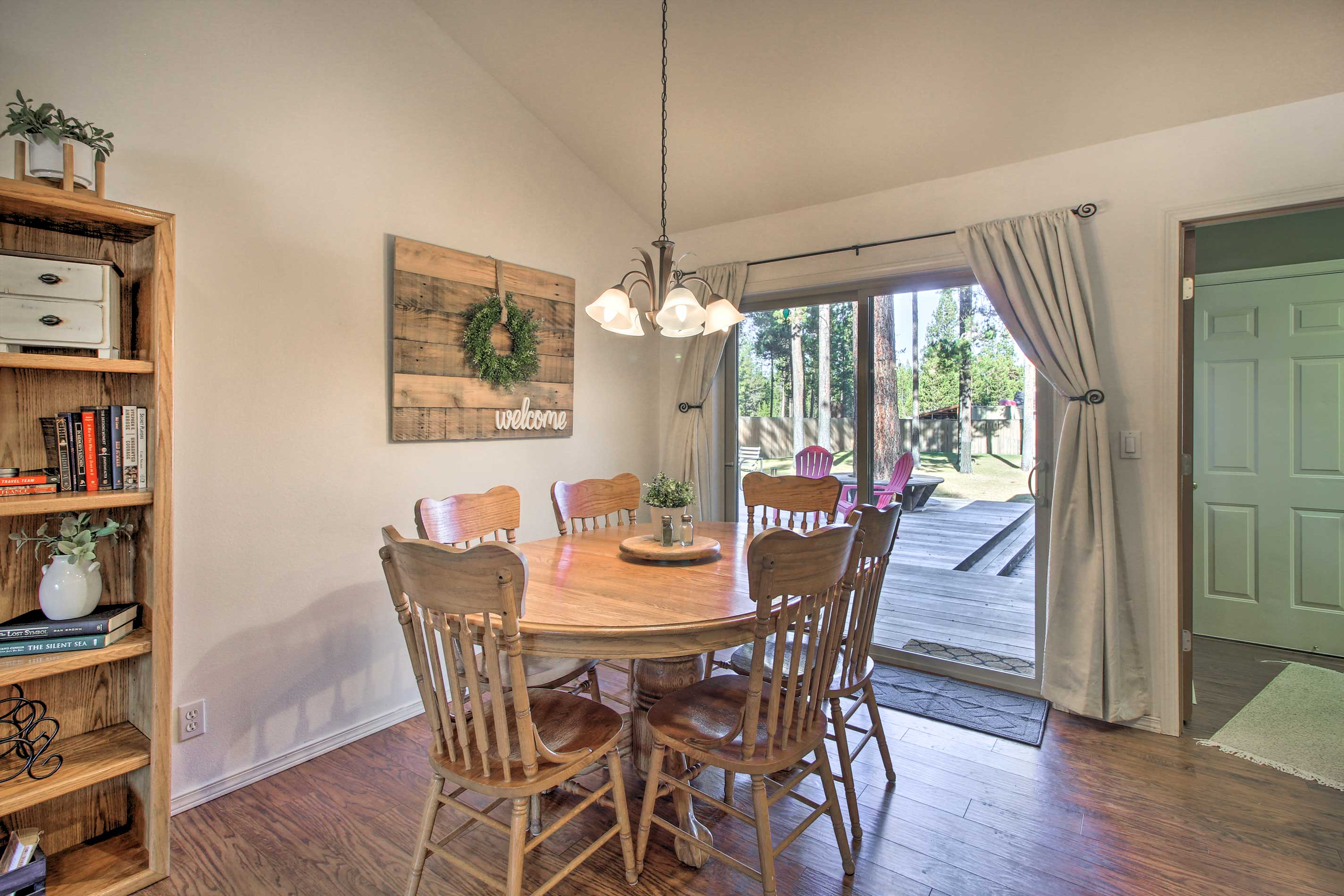 Share a home-cooked meal around the wooden dining table.
