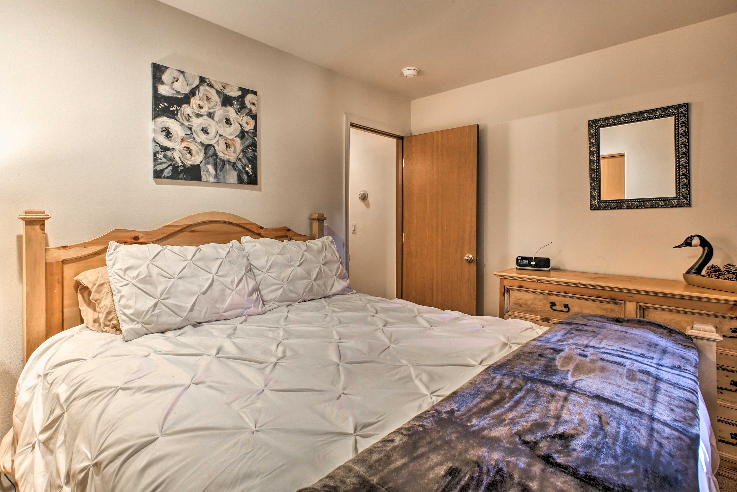 Two travelers will sleep comfortably in this room.