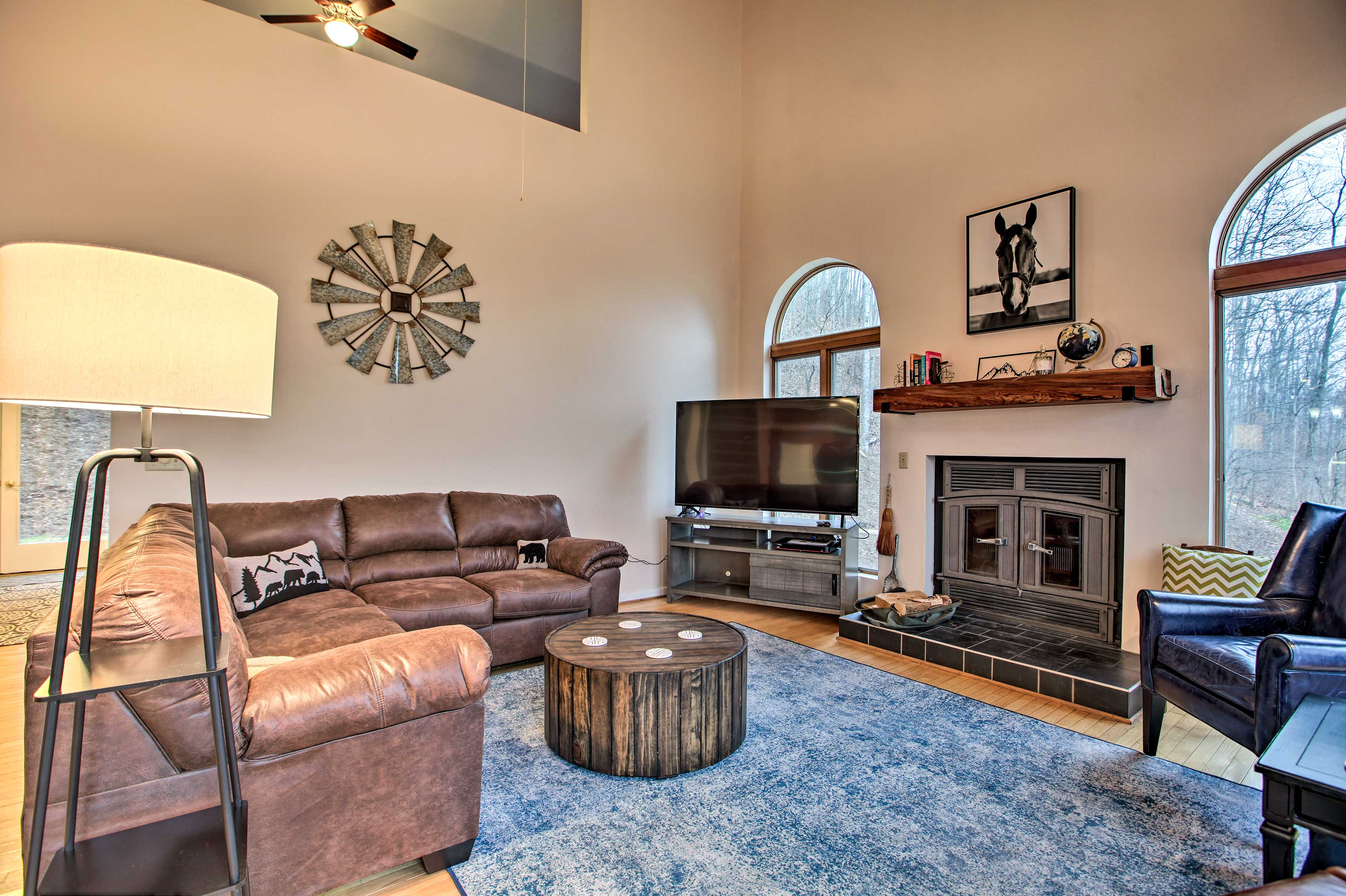 Vaulted ceilings create a spacious feel throughout this home.