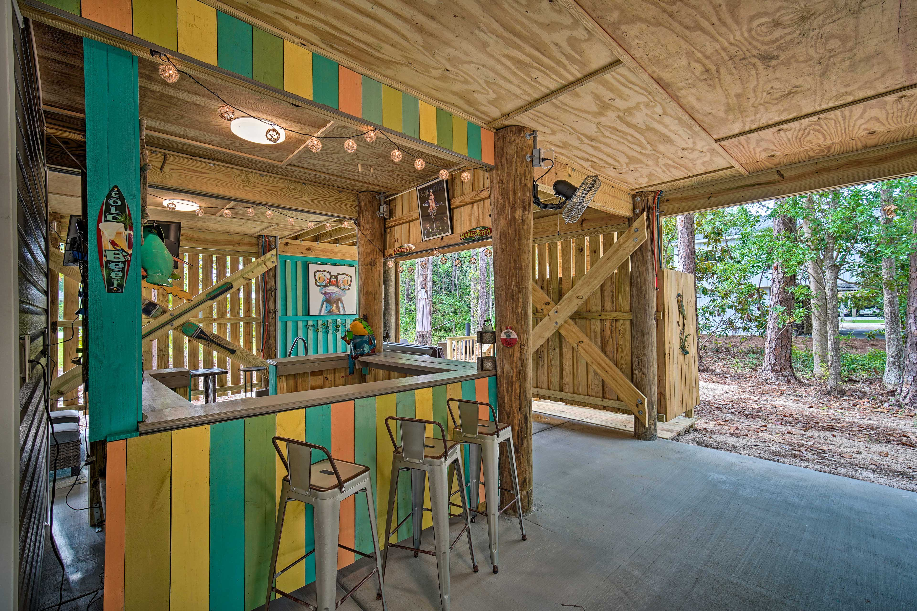 Take in the fresh forest air from the covered patio.