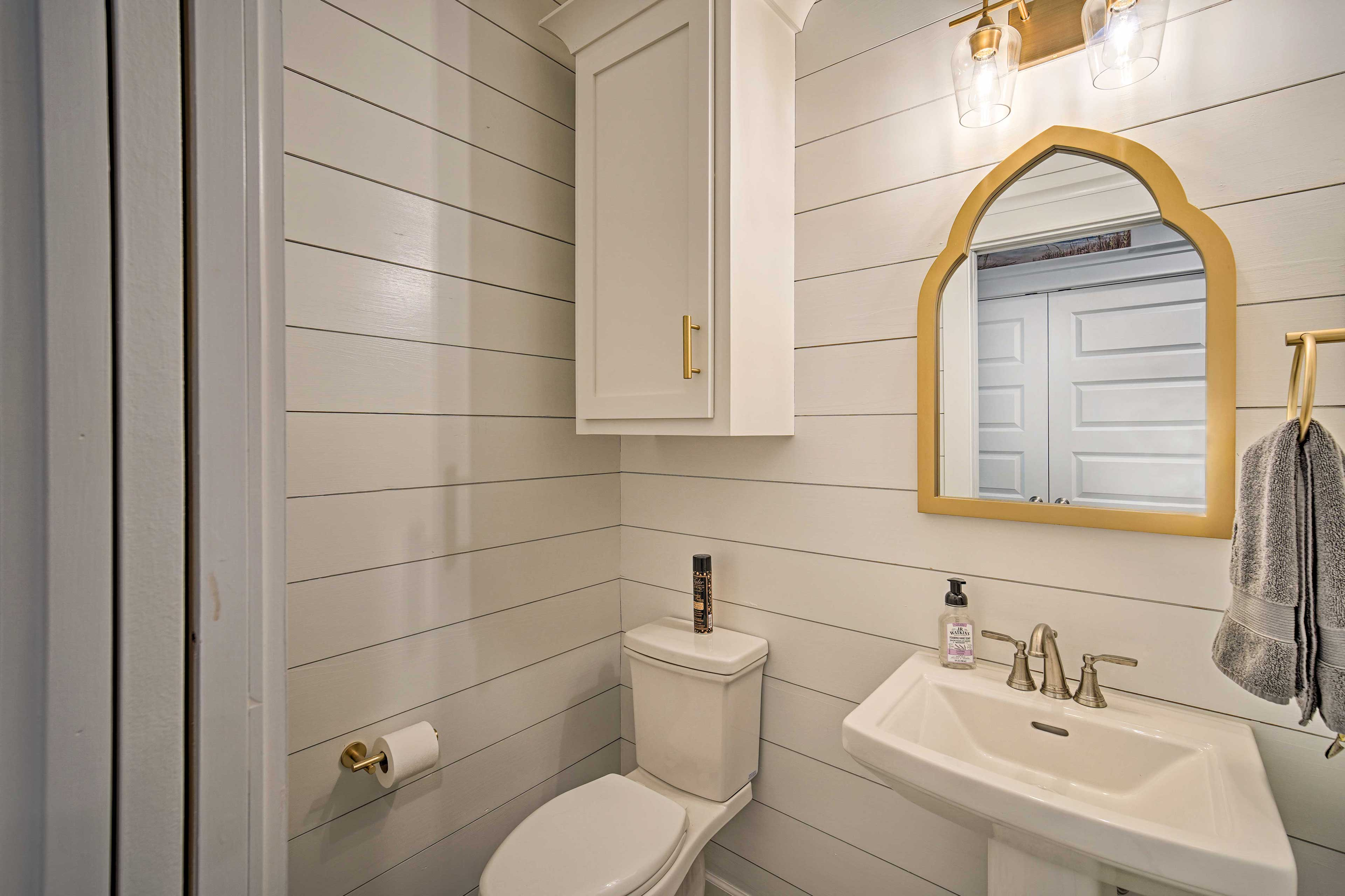 Along with a half bath, the home also offers a washer and dryer.