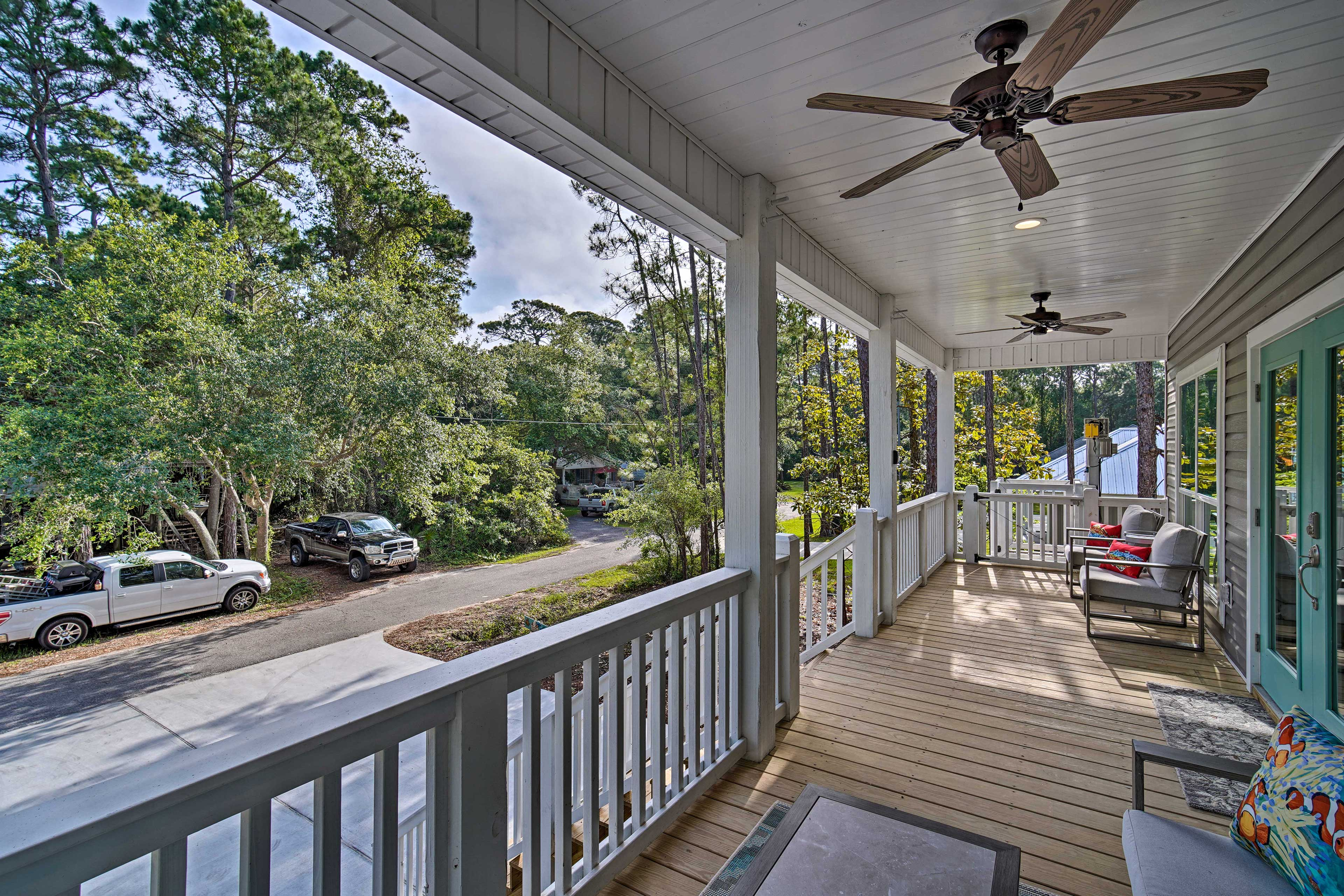 Start your mornings reading books on the private porch.