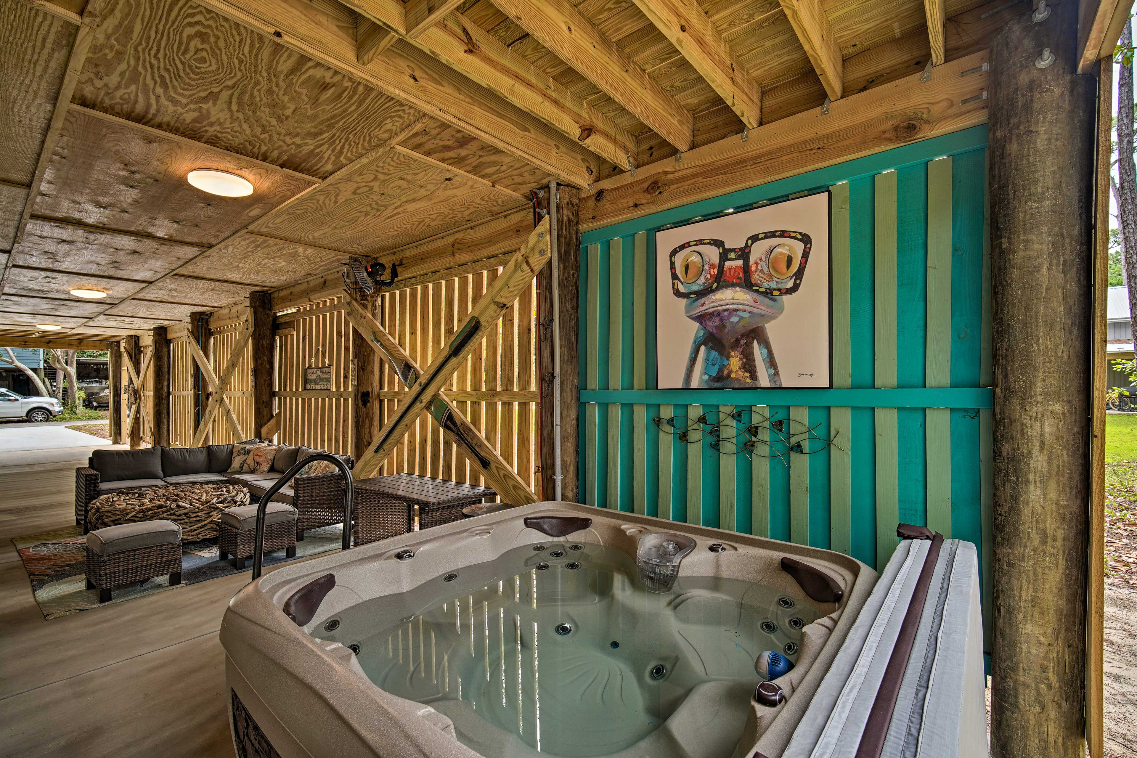 Soak in the hot tub to conclude your evening.