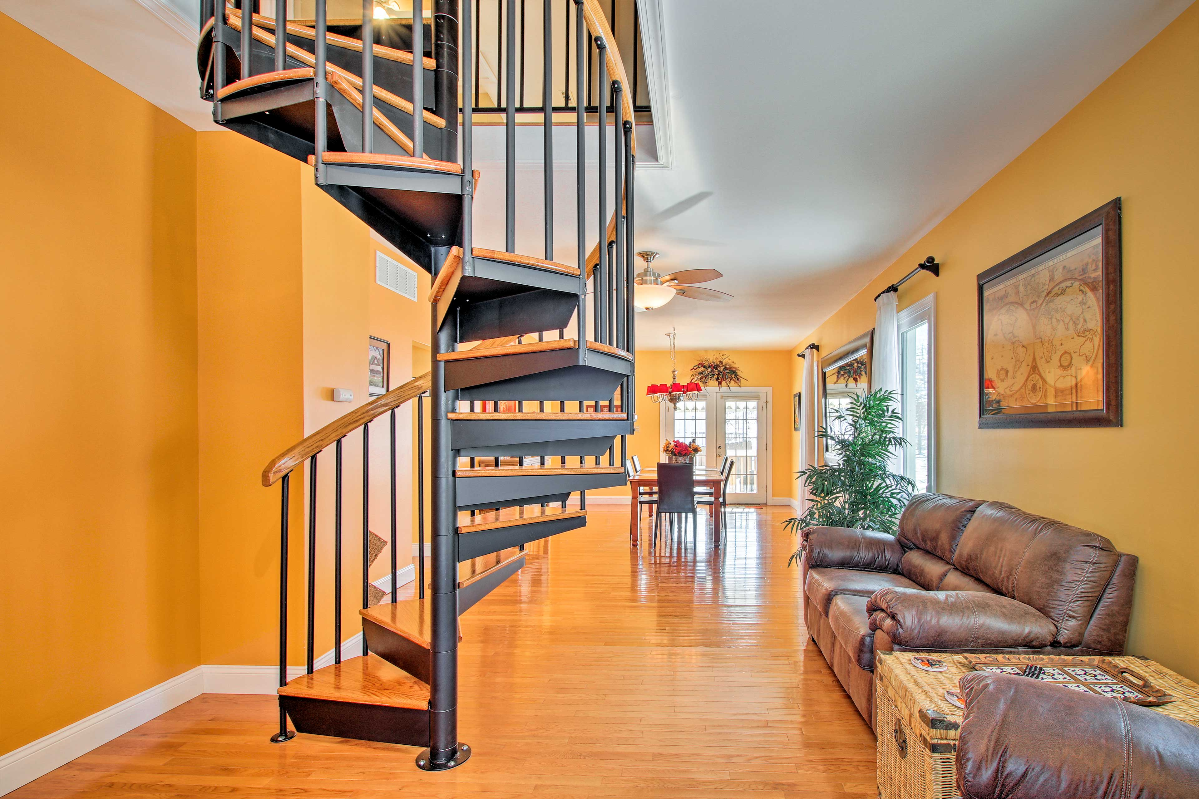Historic touches add charm to the house - like this fun spiral staircase!