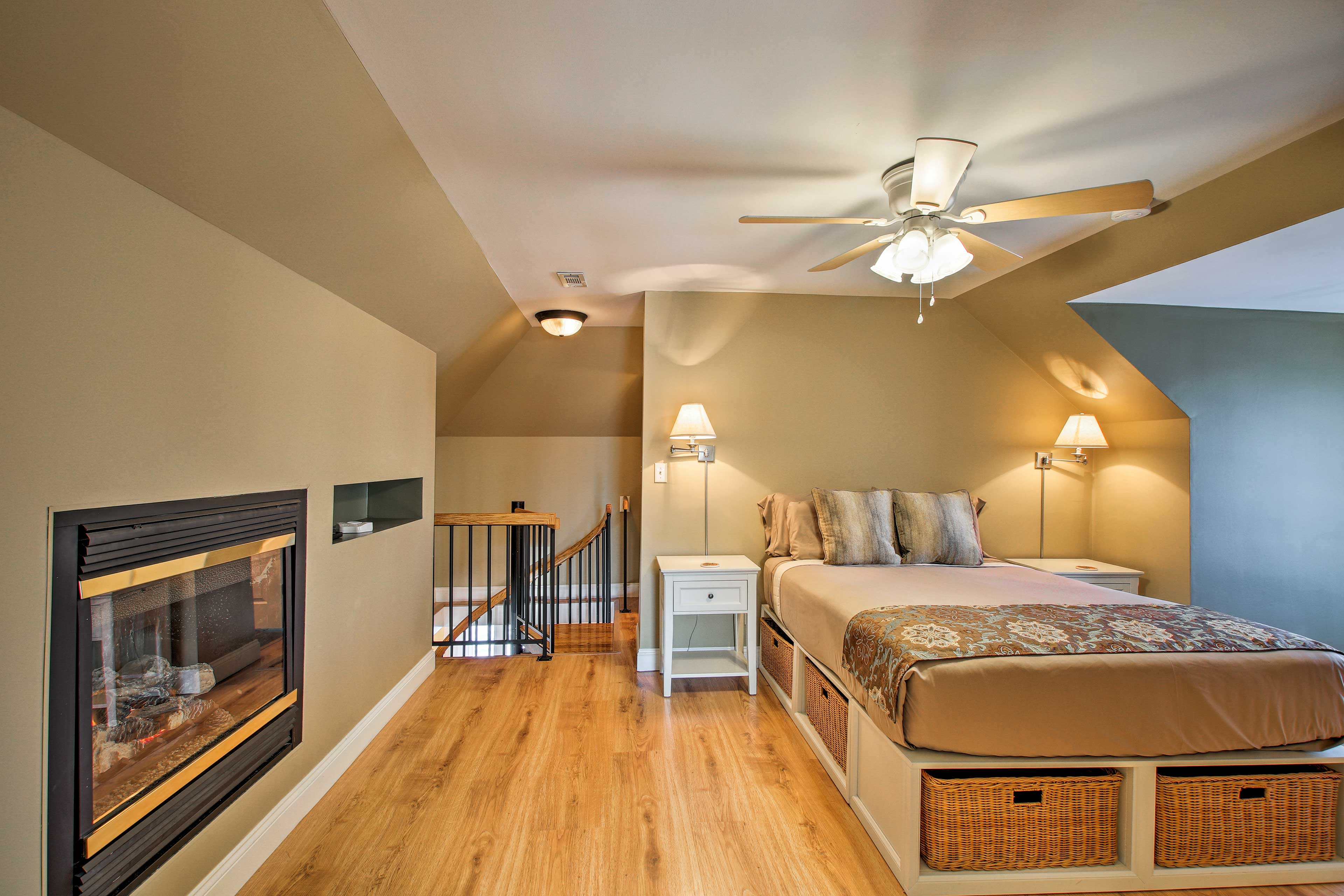 Make your way upstairs to relax in the second bedroom.