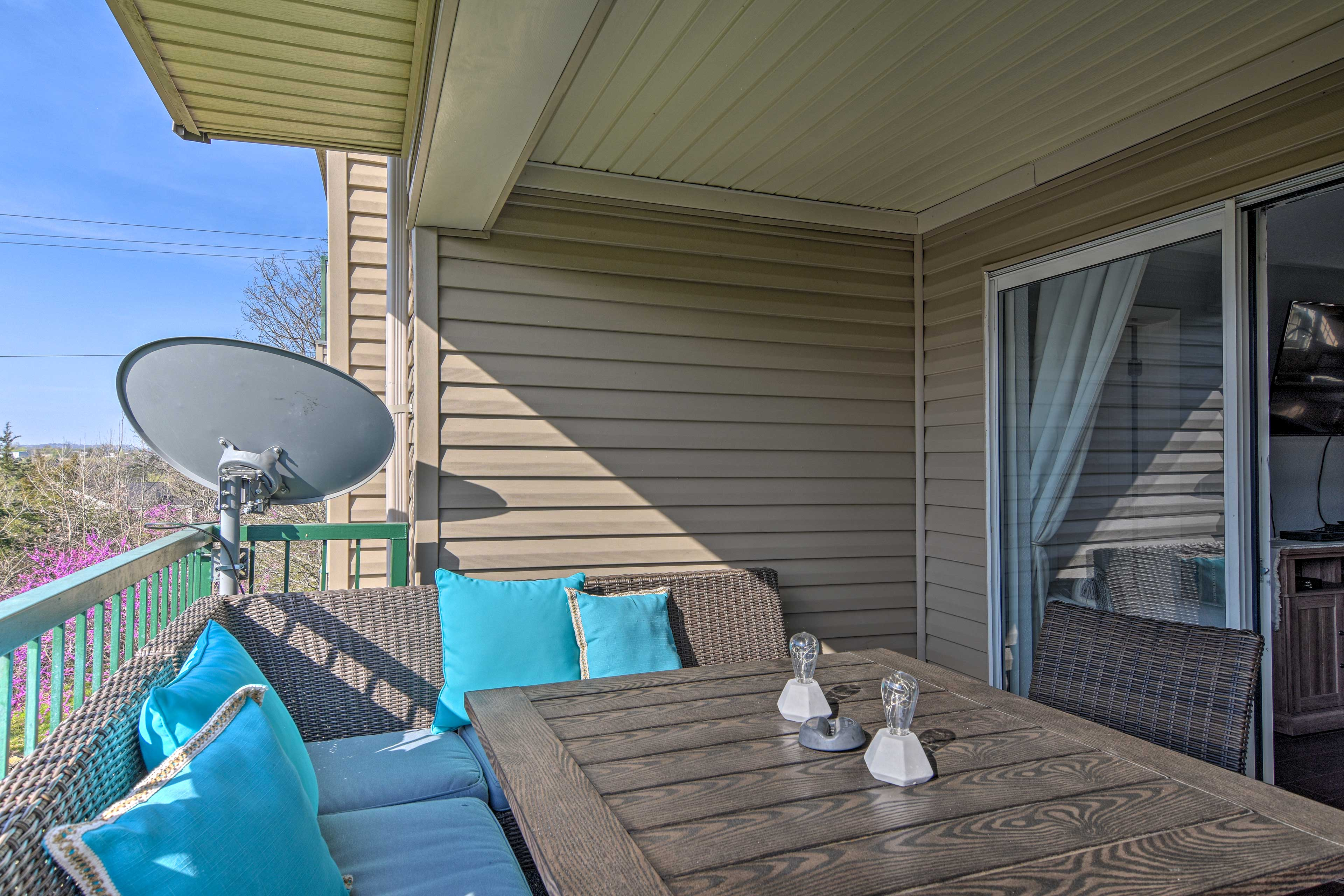 Enjoy the sun in the private outdoor space.