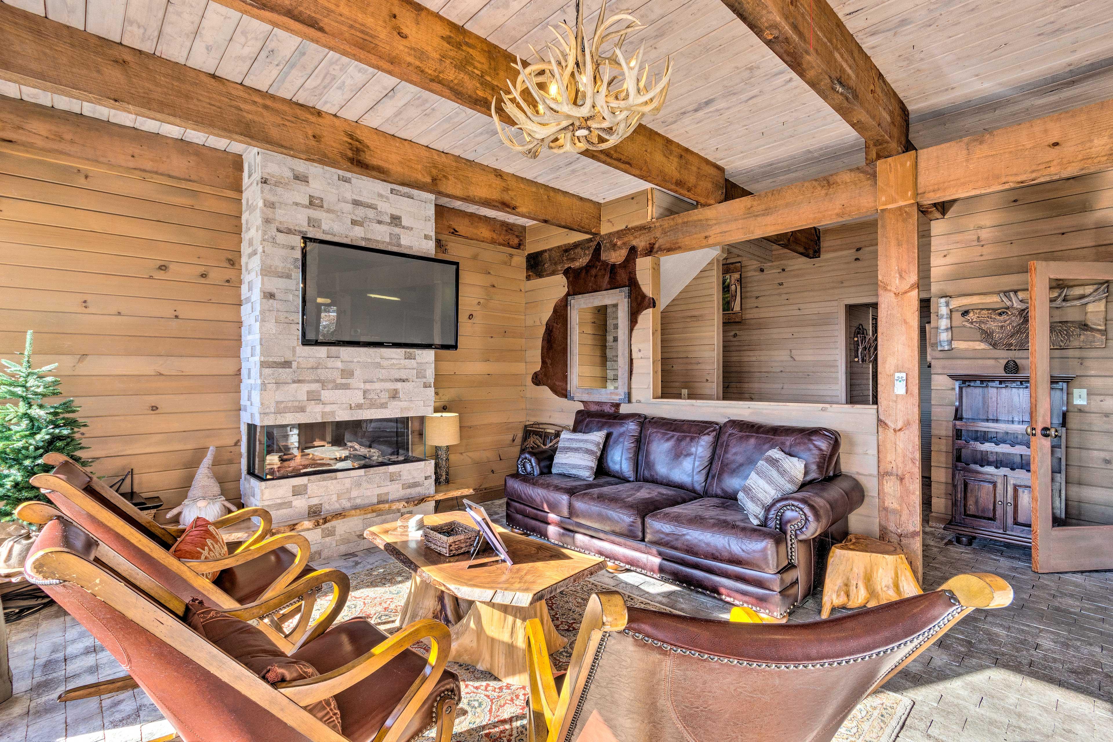Luxe rustic decor defines the interior.