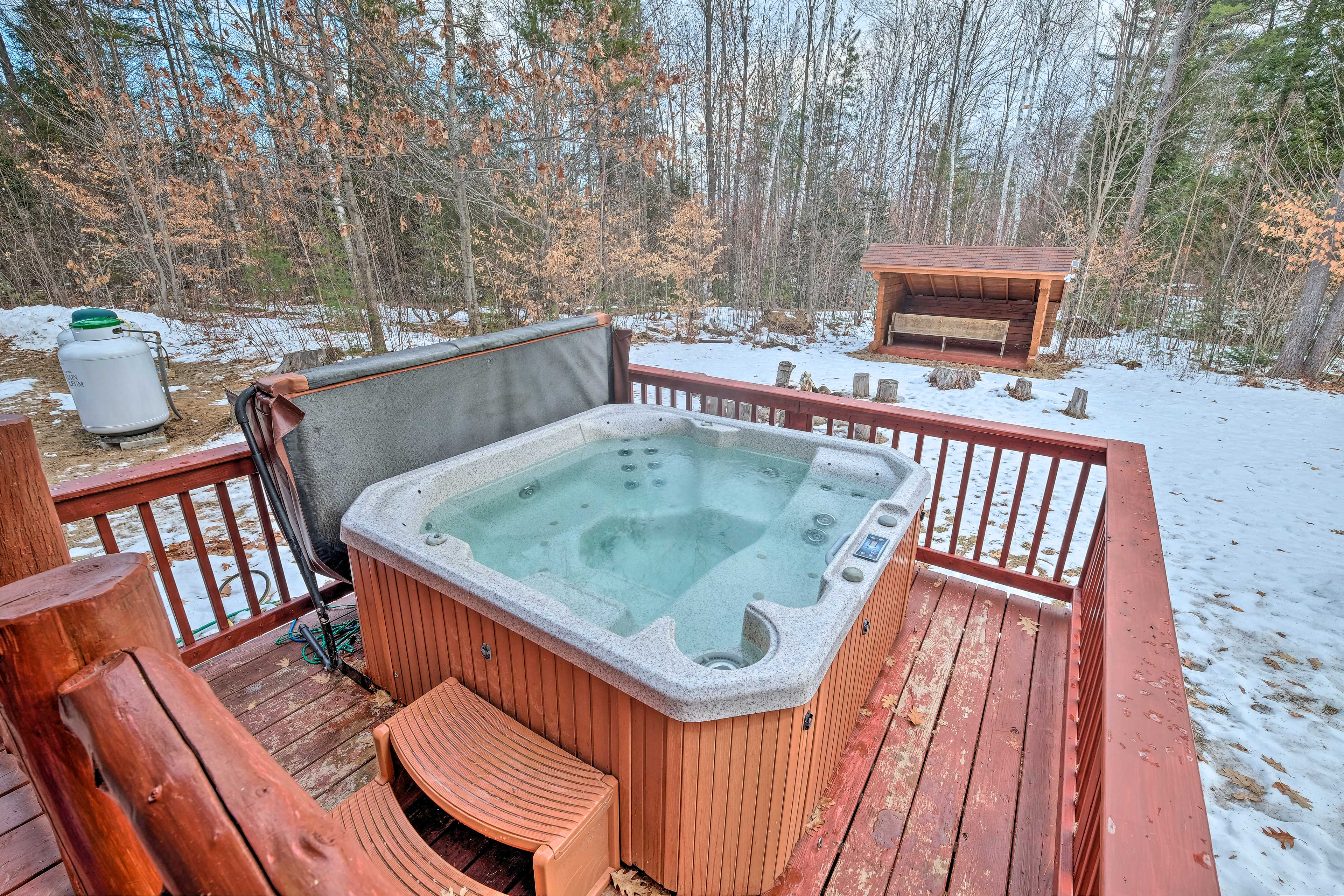 Let your worries all melt away in the hot tub.
