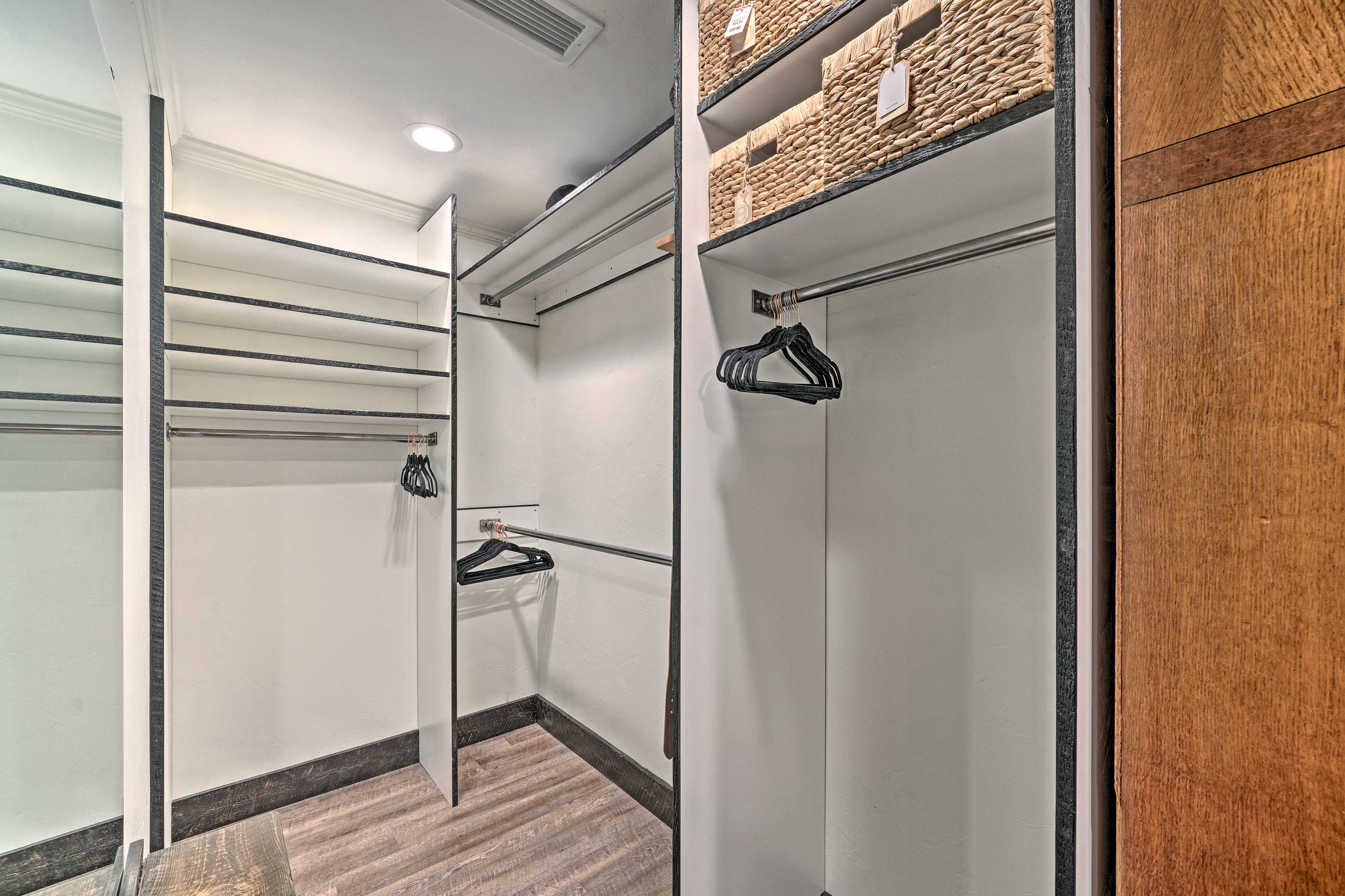 Use the walk-in closet to store your luggage during your stay.