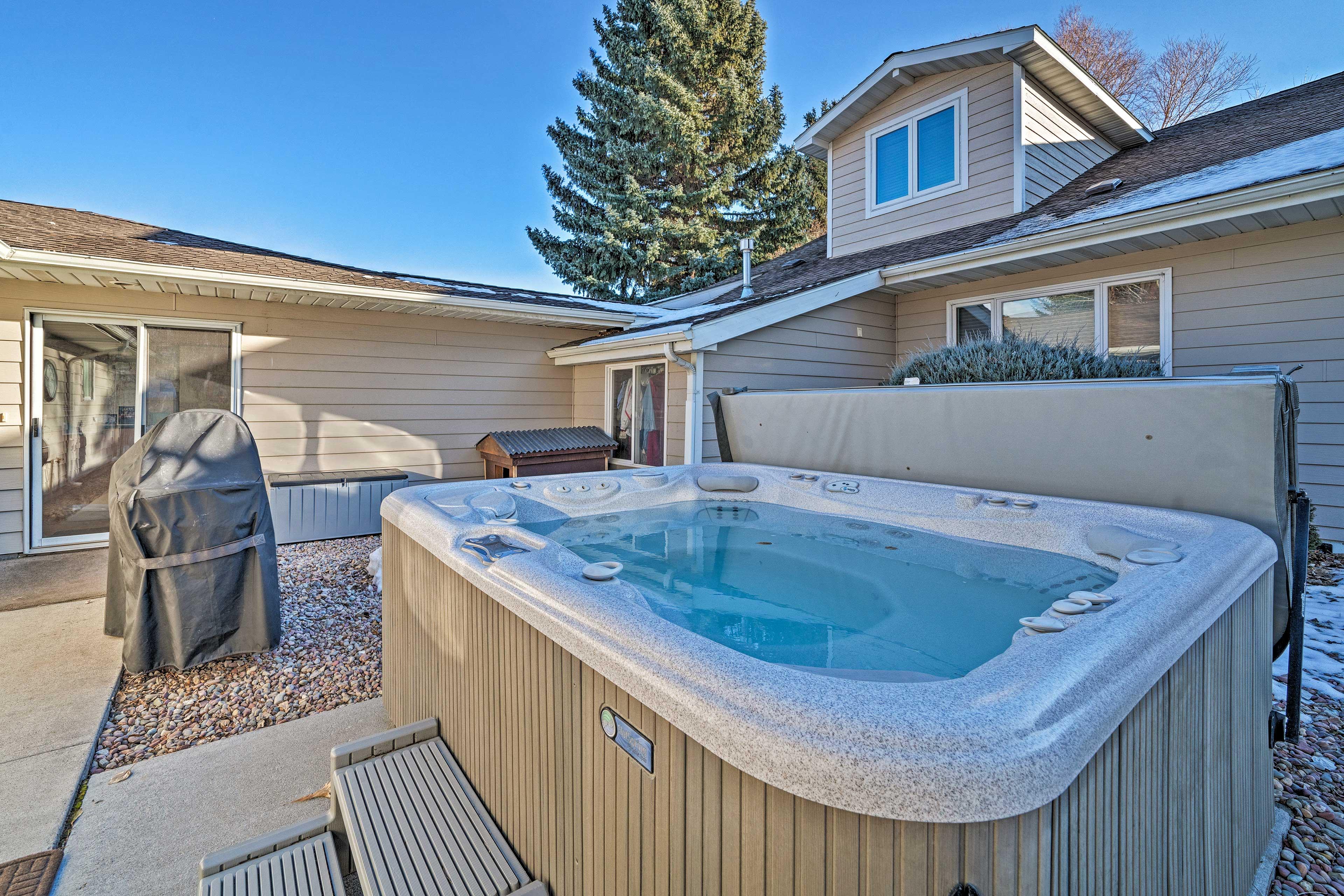 Take advantage of this vacation rental's hot tub.