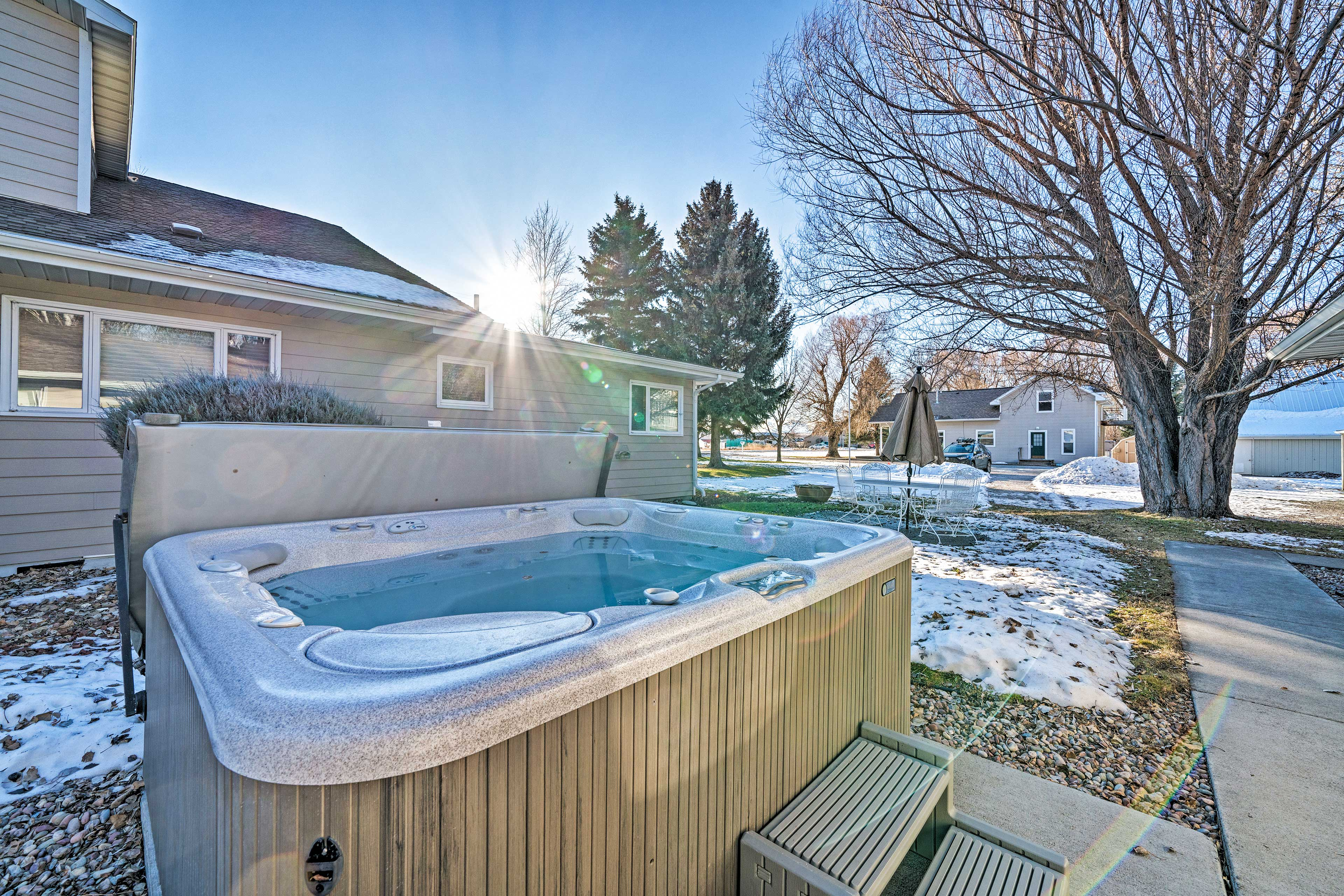 Hop in the hot tub any day of the year for an enjoyable soak!