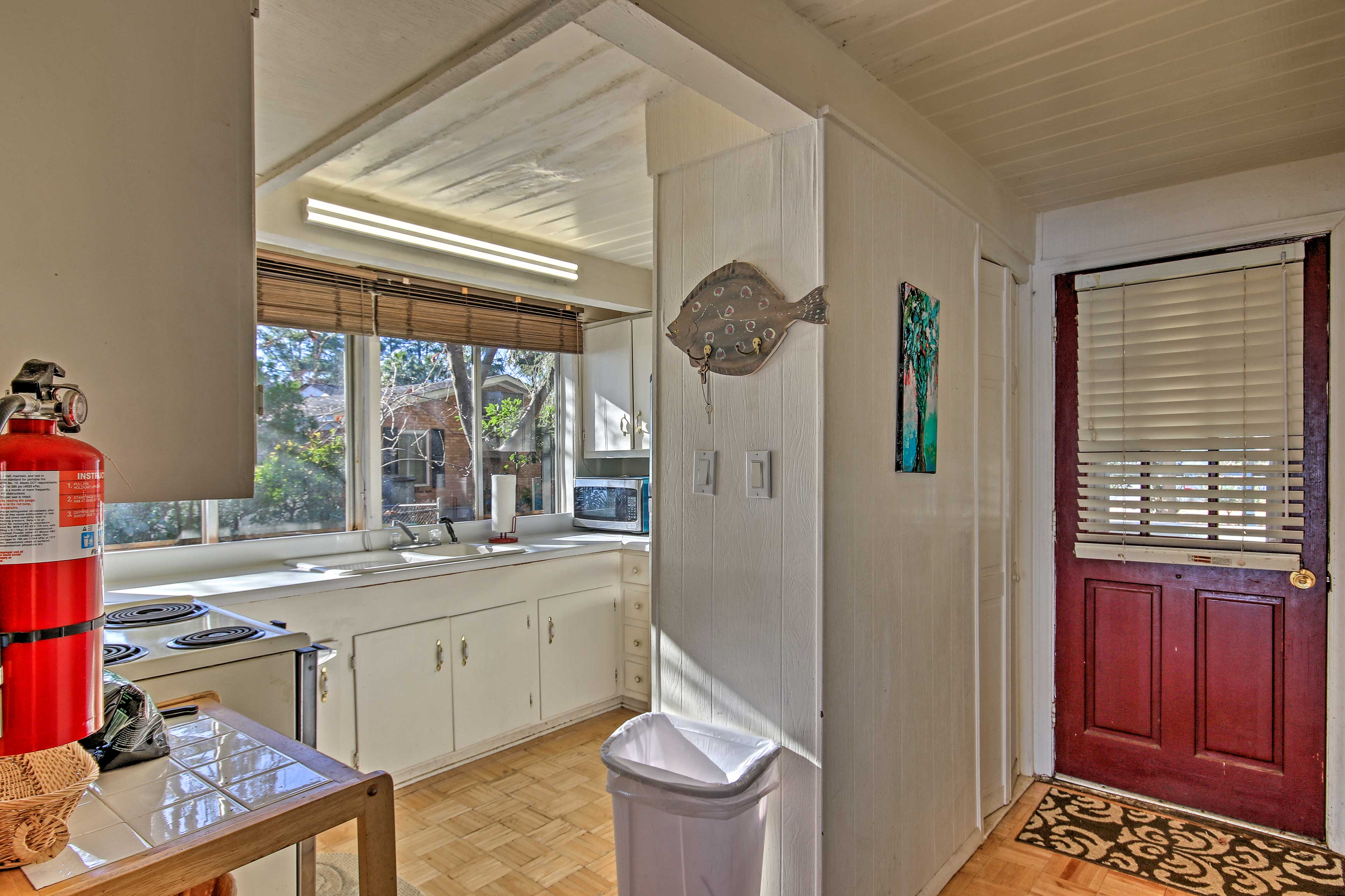 This vacation rental features a well-equipped kitchen with cooking basics.