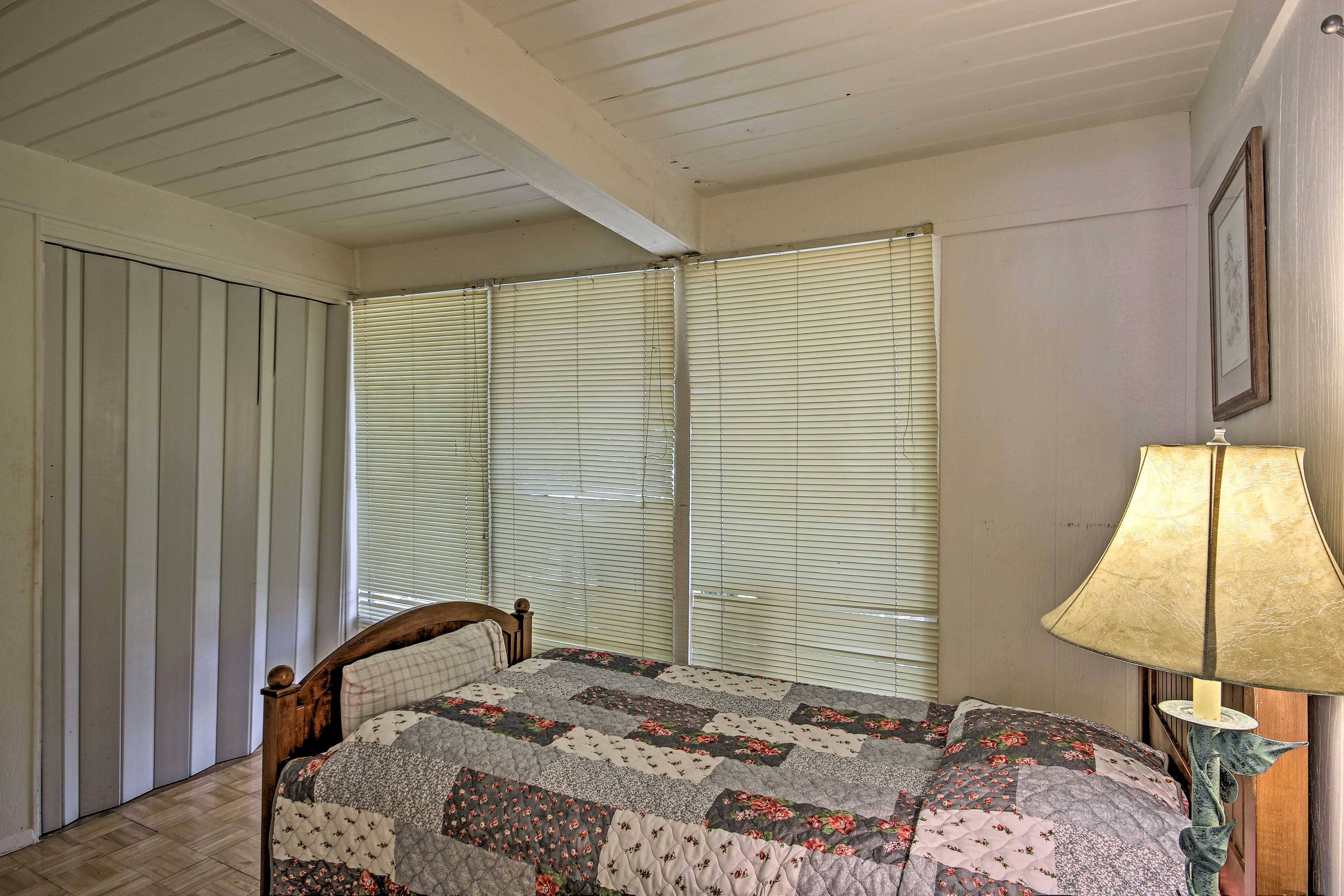 This bedroom comfortably sleeps 2 guests in a twin bed and twin trundle.