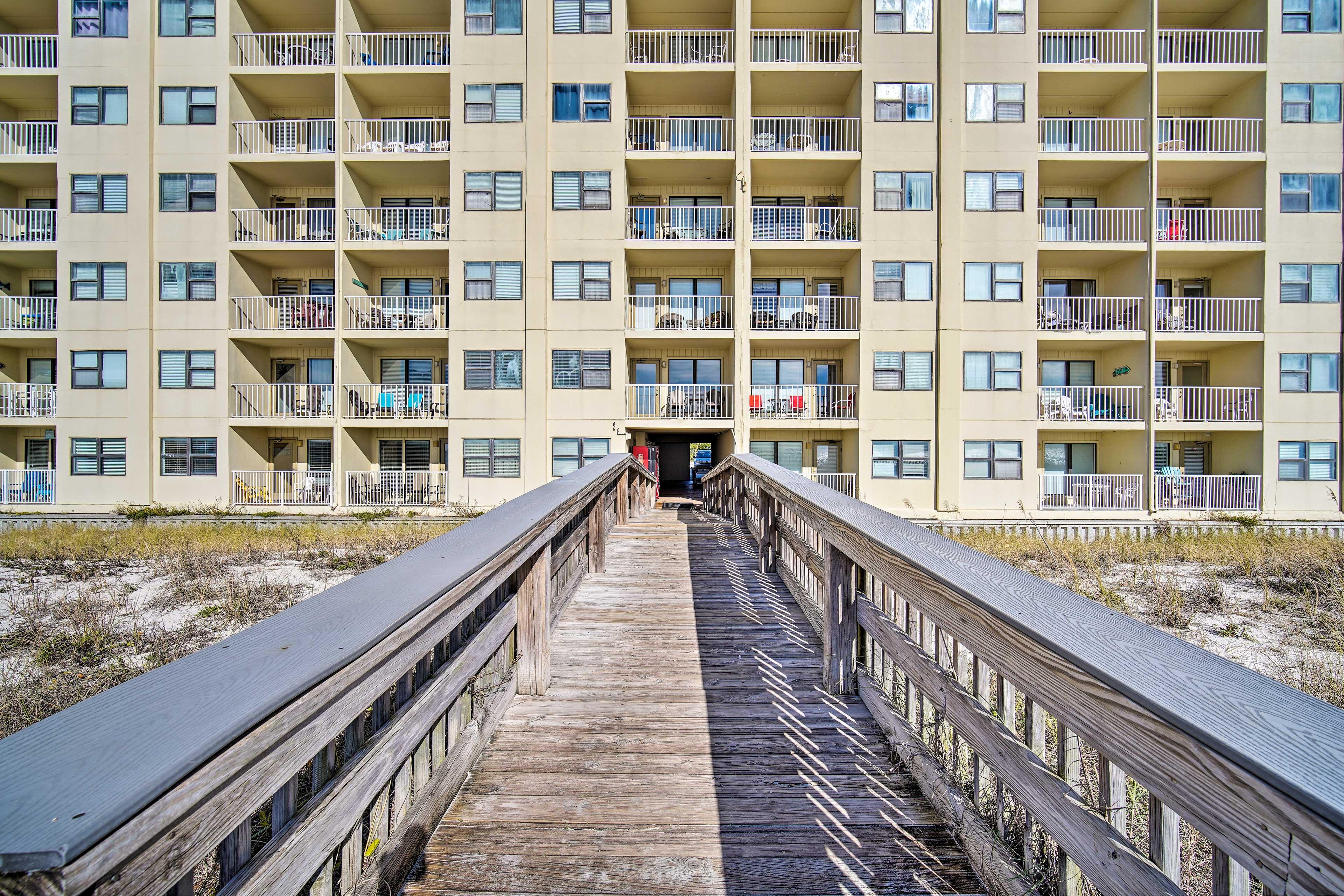The complex boasts a private boardwalk to the beach!