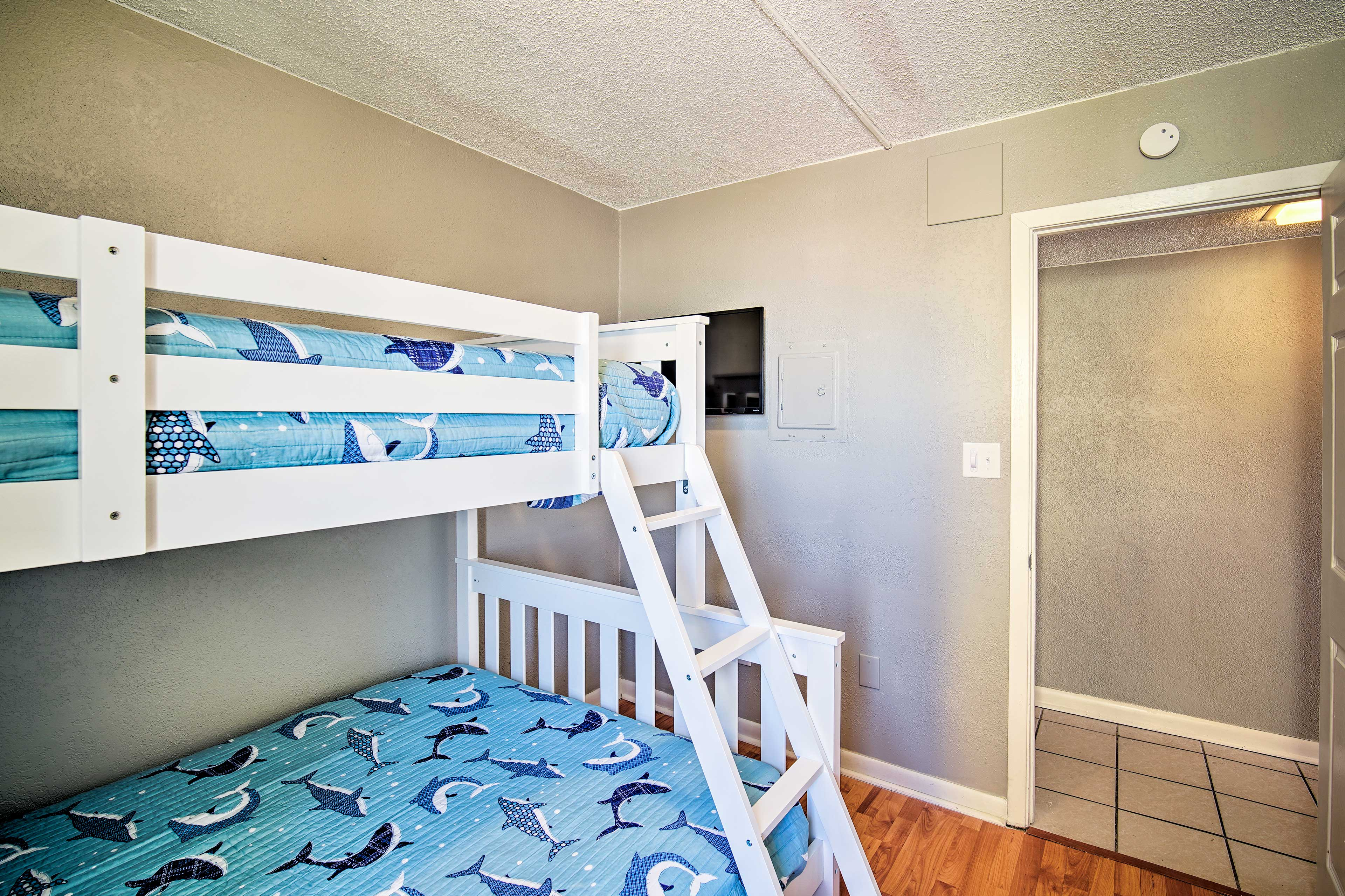 This room features a twin/full bunk bed.