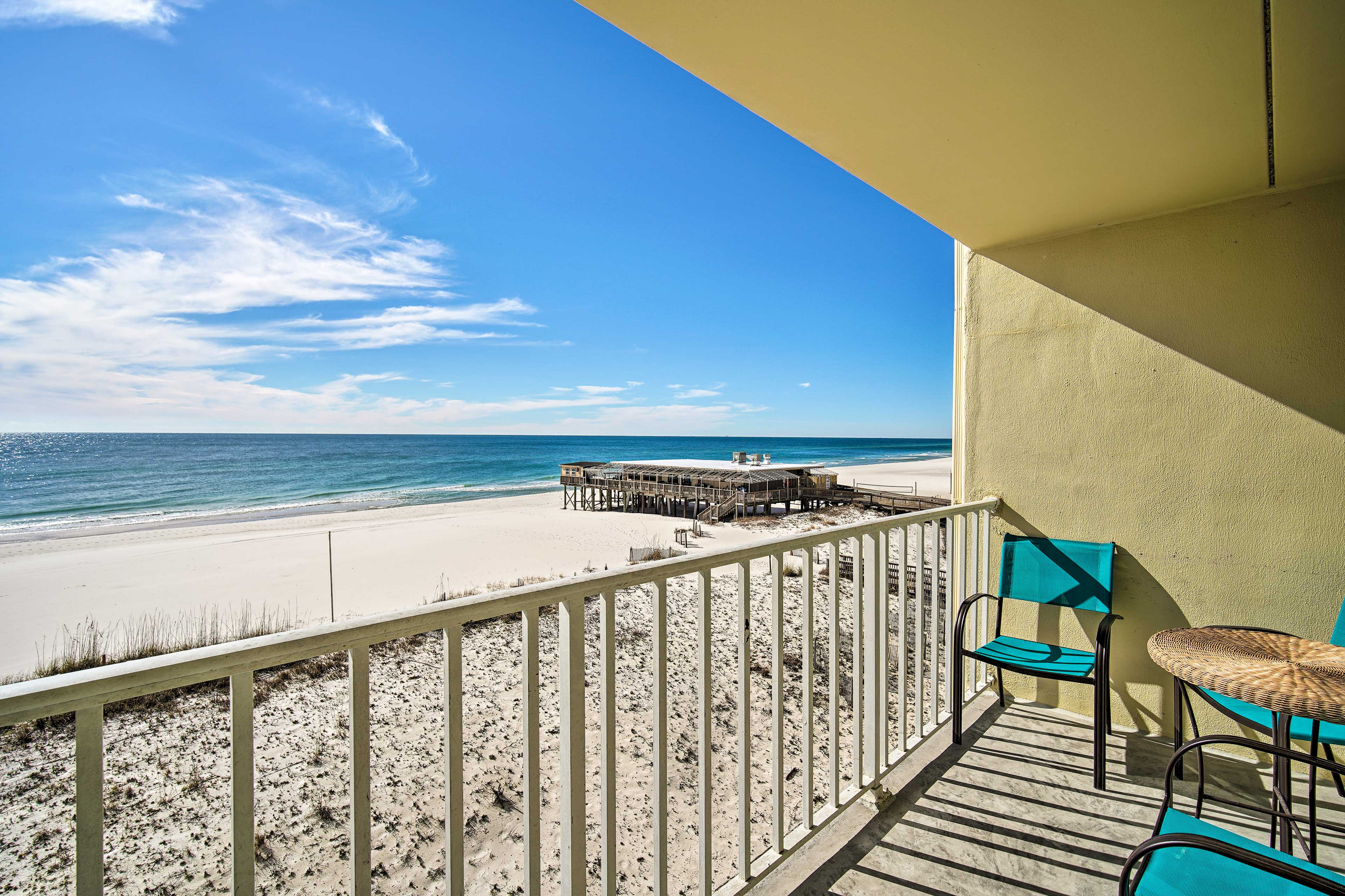 The 2-bed, 2-bath unit boasts a private ocean-view balcony.