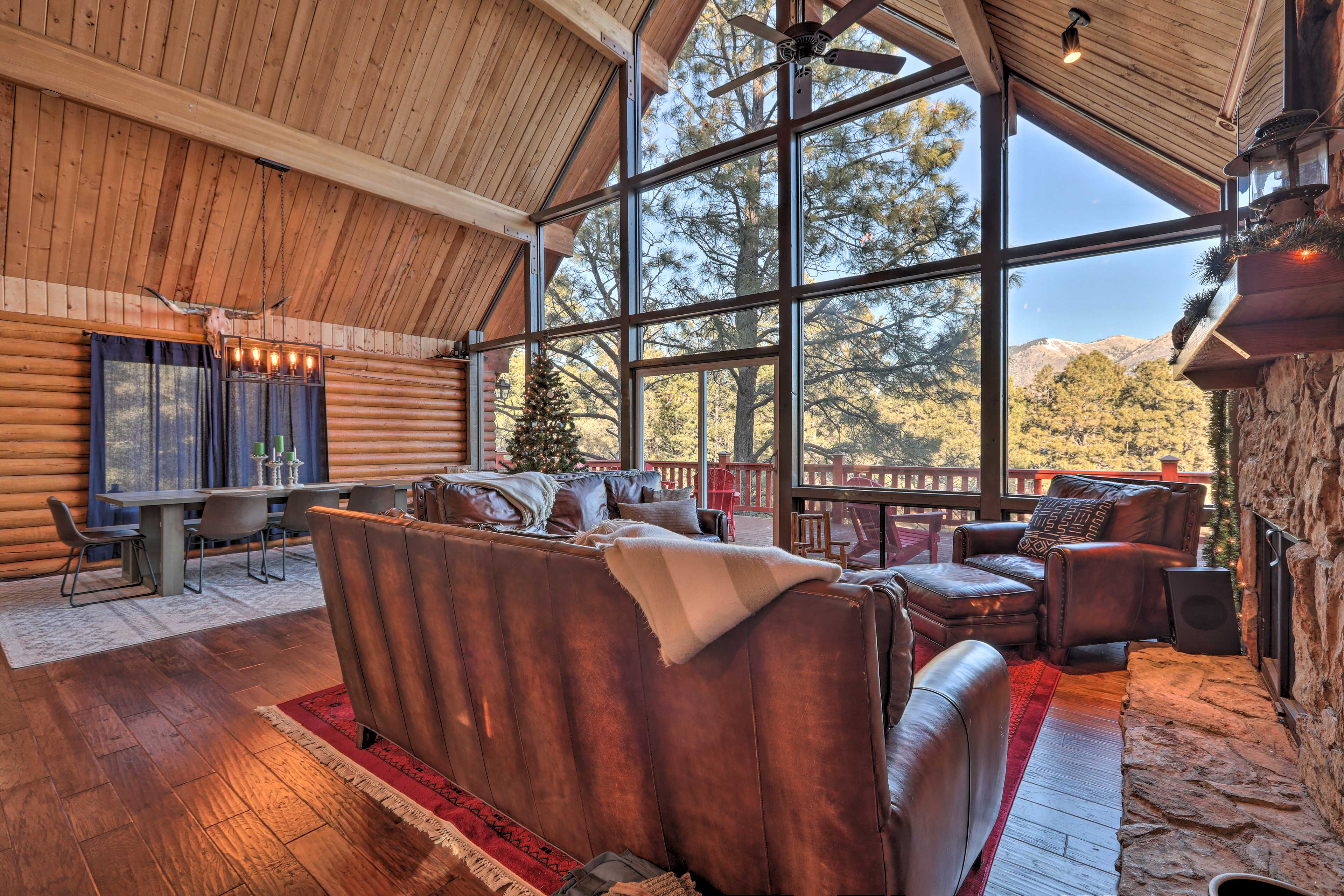 You'll never tire of the mountain views as you unwind by the fireplace.