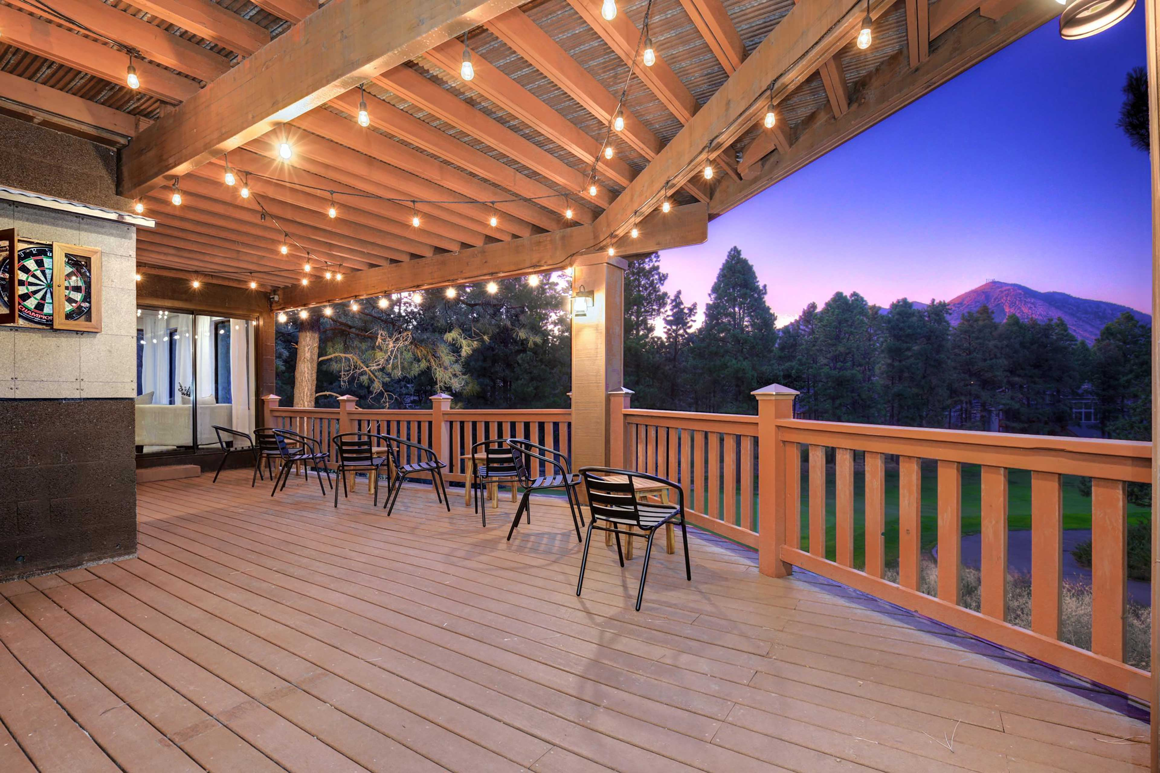 The lower-level deck has fantastic views of the golf course.