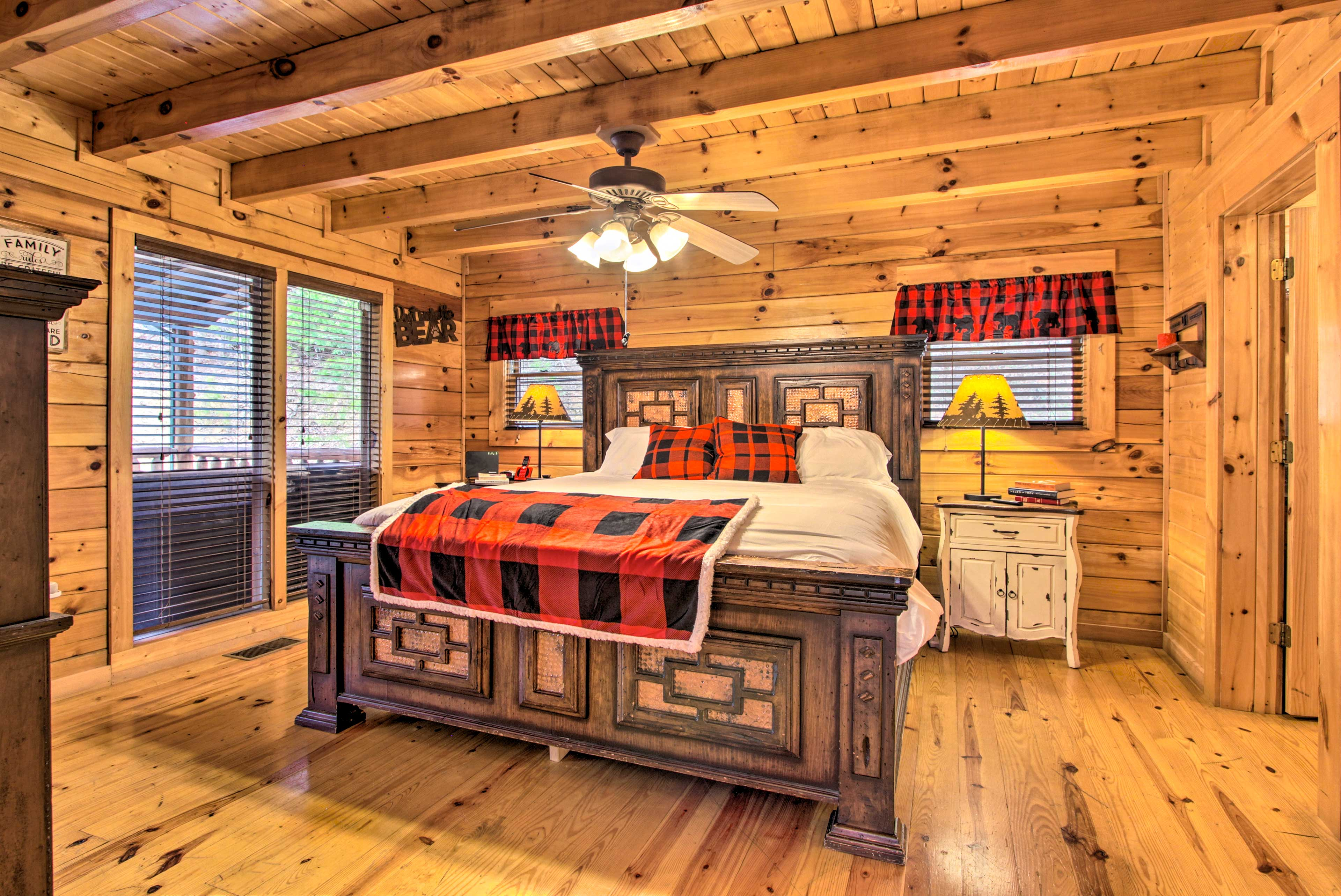 The main floor has a spacious master bedroom with a king bed.