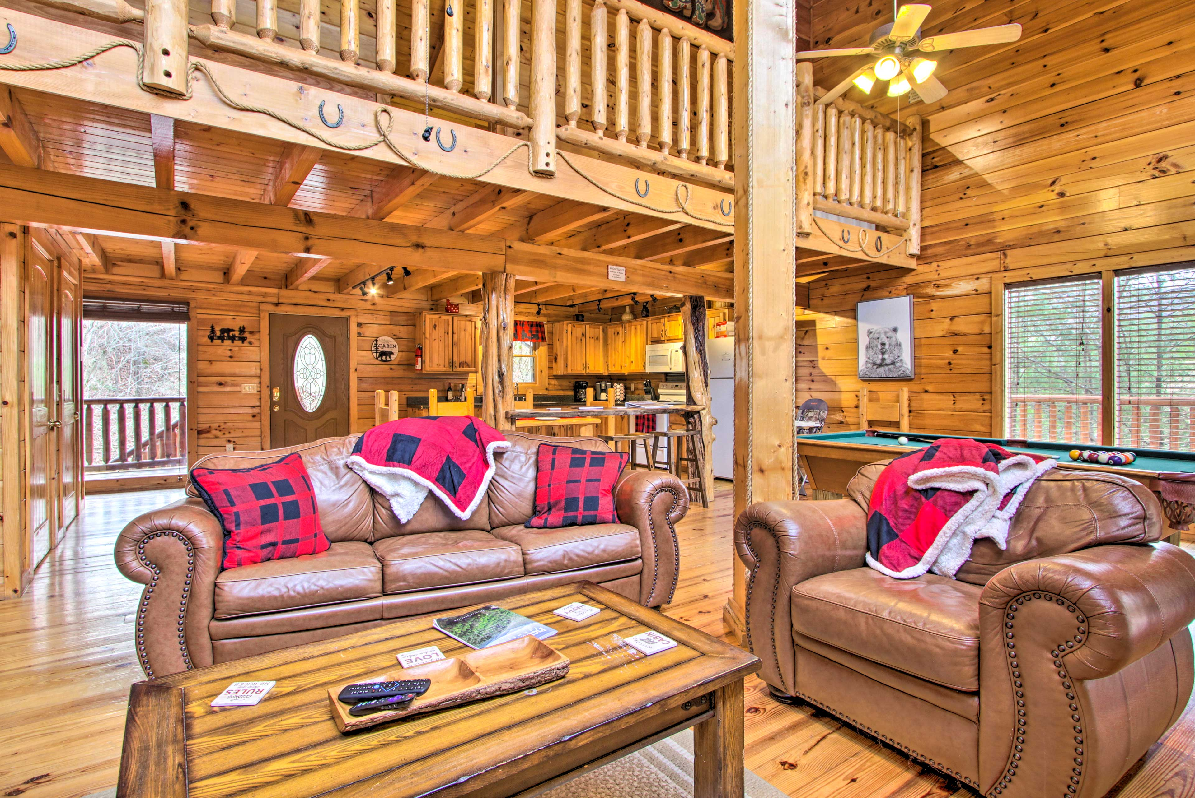 Map out your next rustic Pigeon Forge retreat to this 3-bedroom, 3-bath cabin.