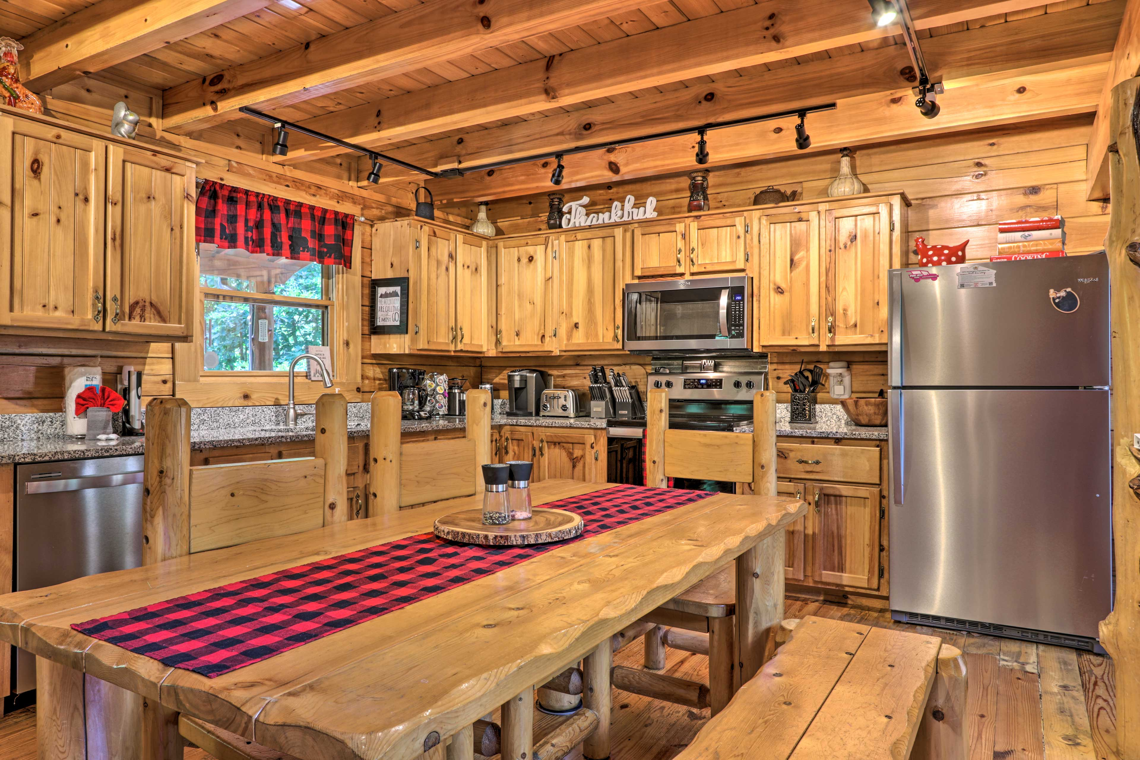 Enjoy a family meal around the log dining table.