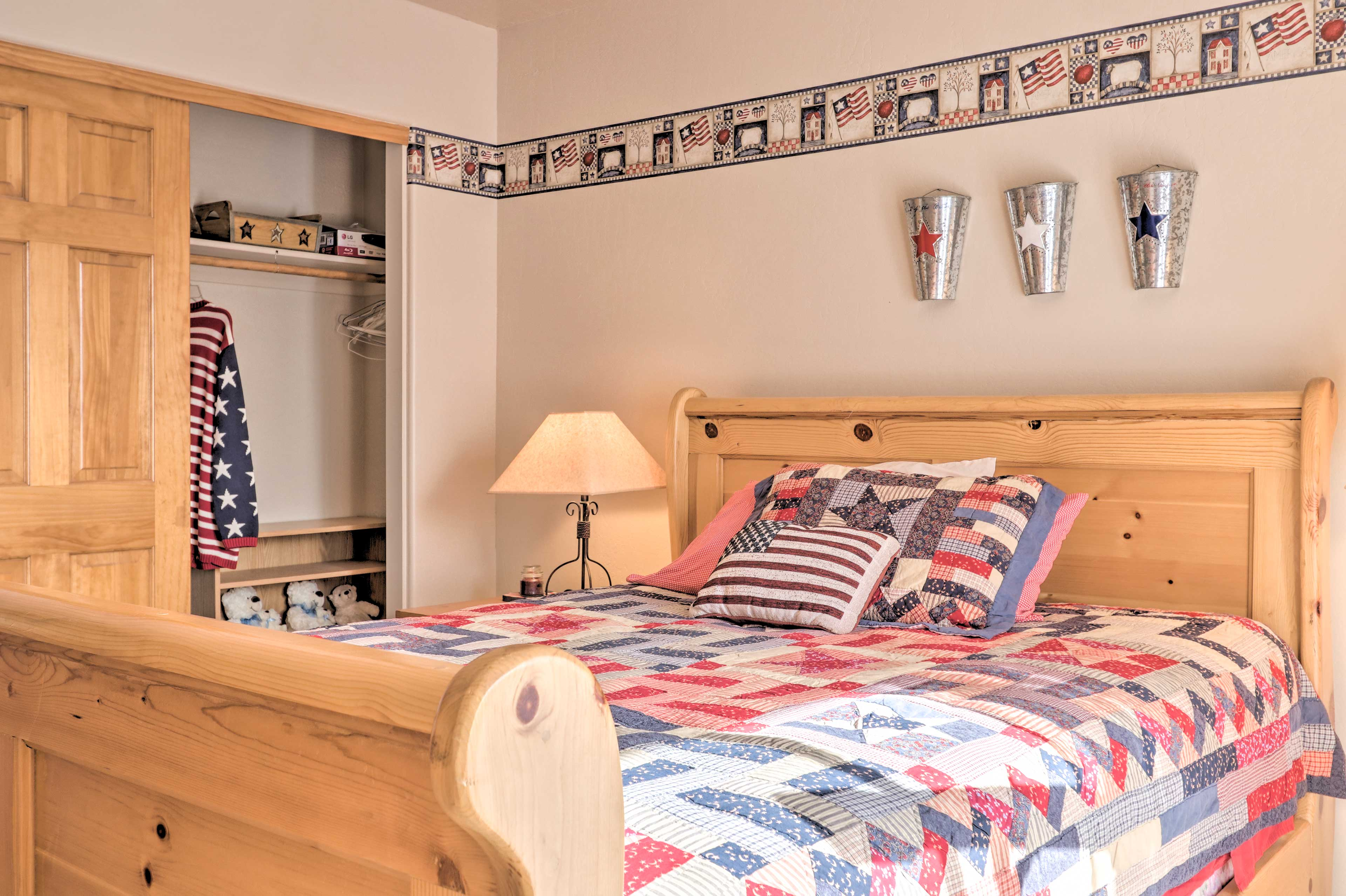 This patriotic room also has plenty of closet space for your belongings.