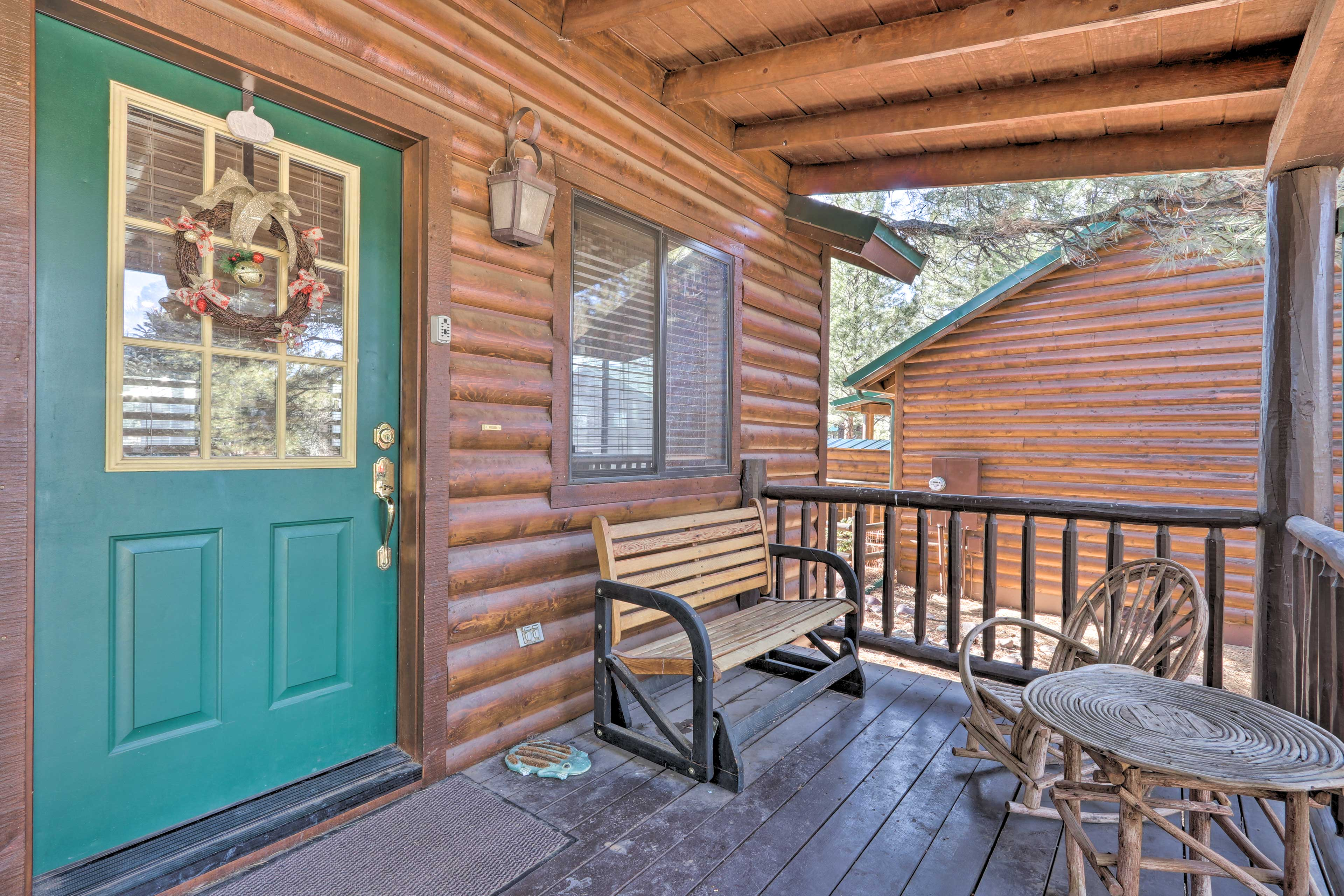 Sip your morning coffee out on the private porch.