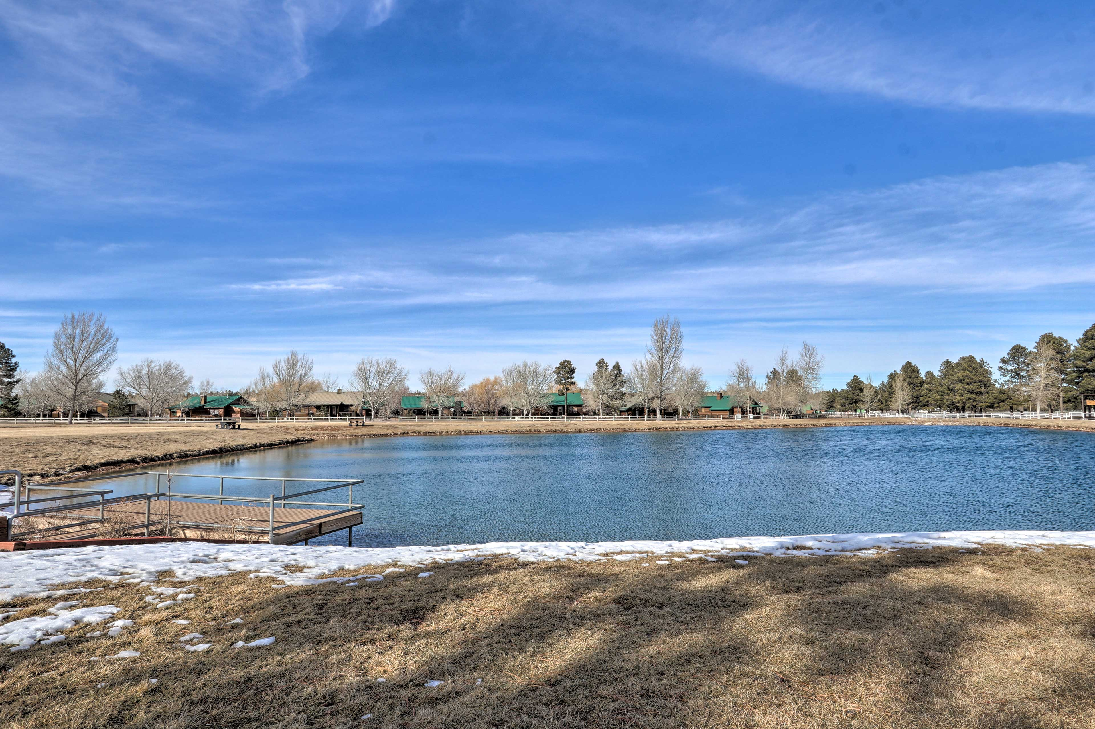 The Bison Ranch community offers a catch & release pond, playground, and more!