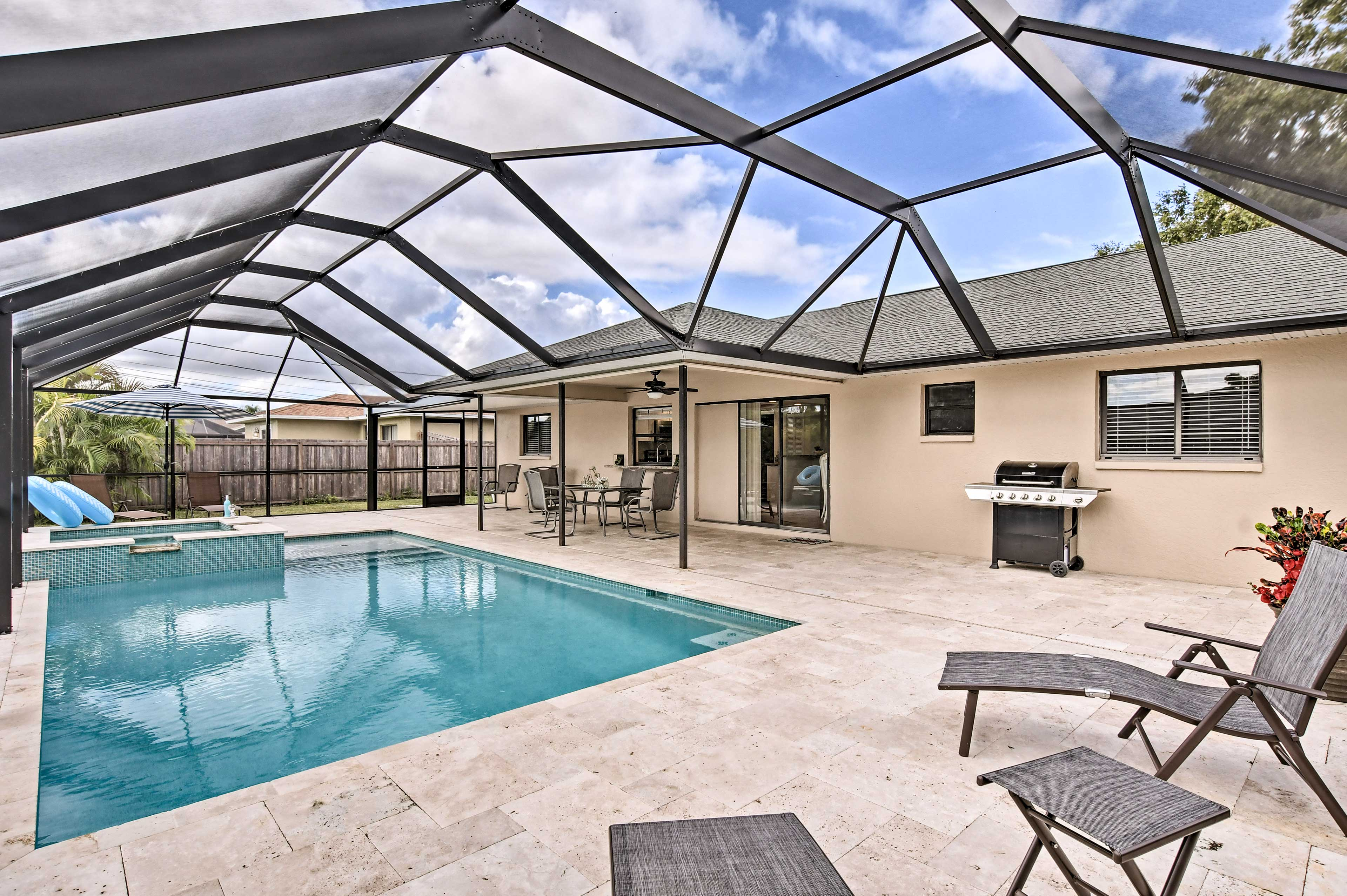 This vacation rental home has a private pool and spa!