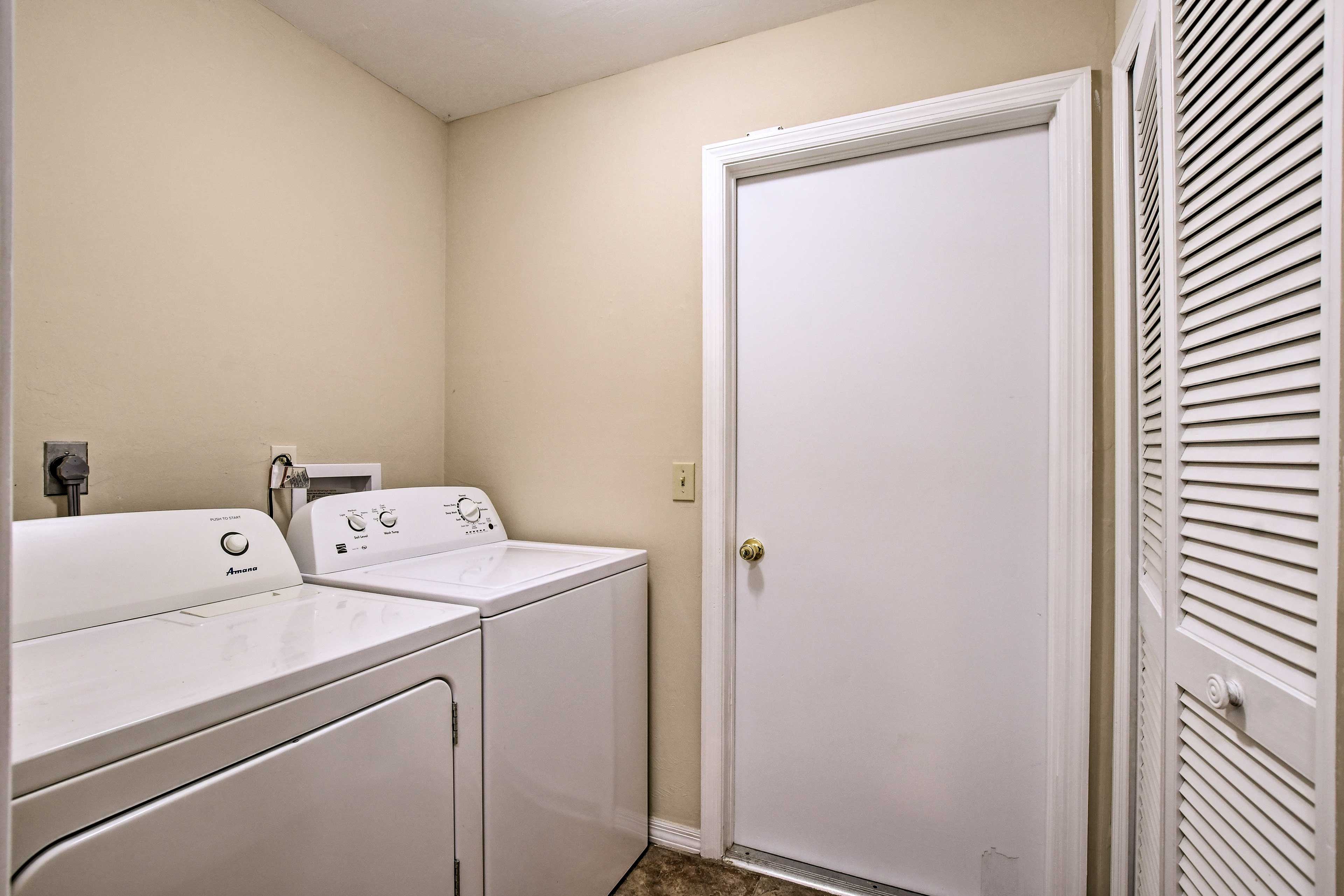 Keep your clothes fresh and clean with the washer and dryer.