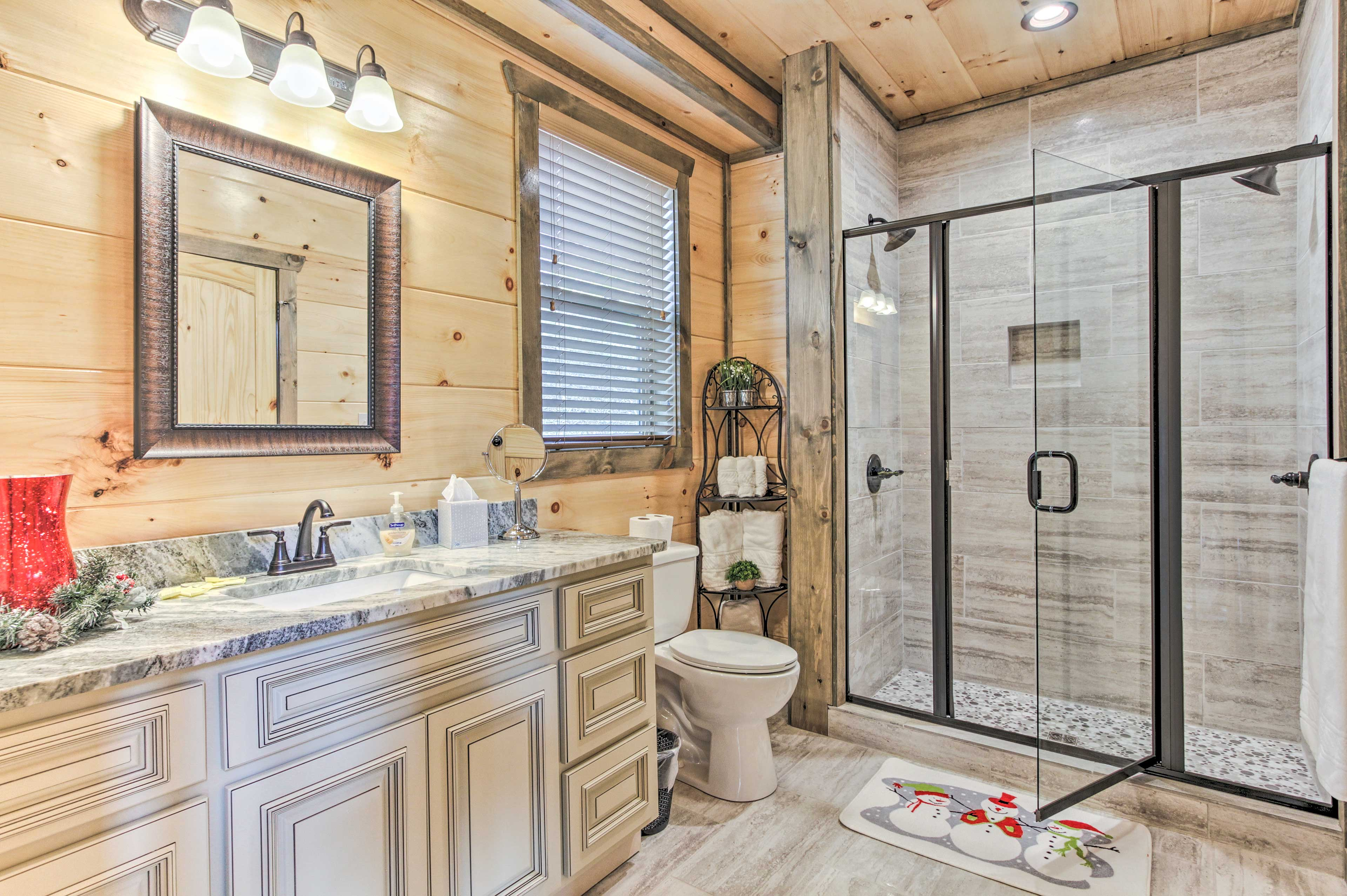 Rinse off before bed in the second bathroom.
