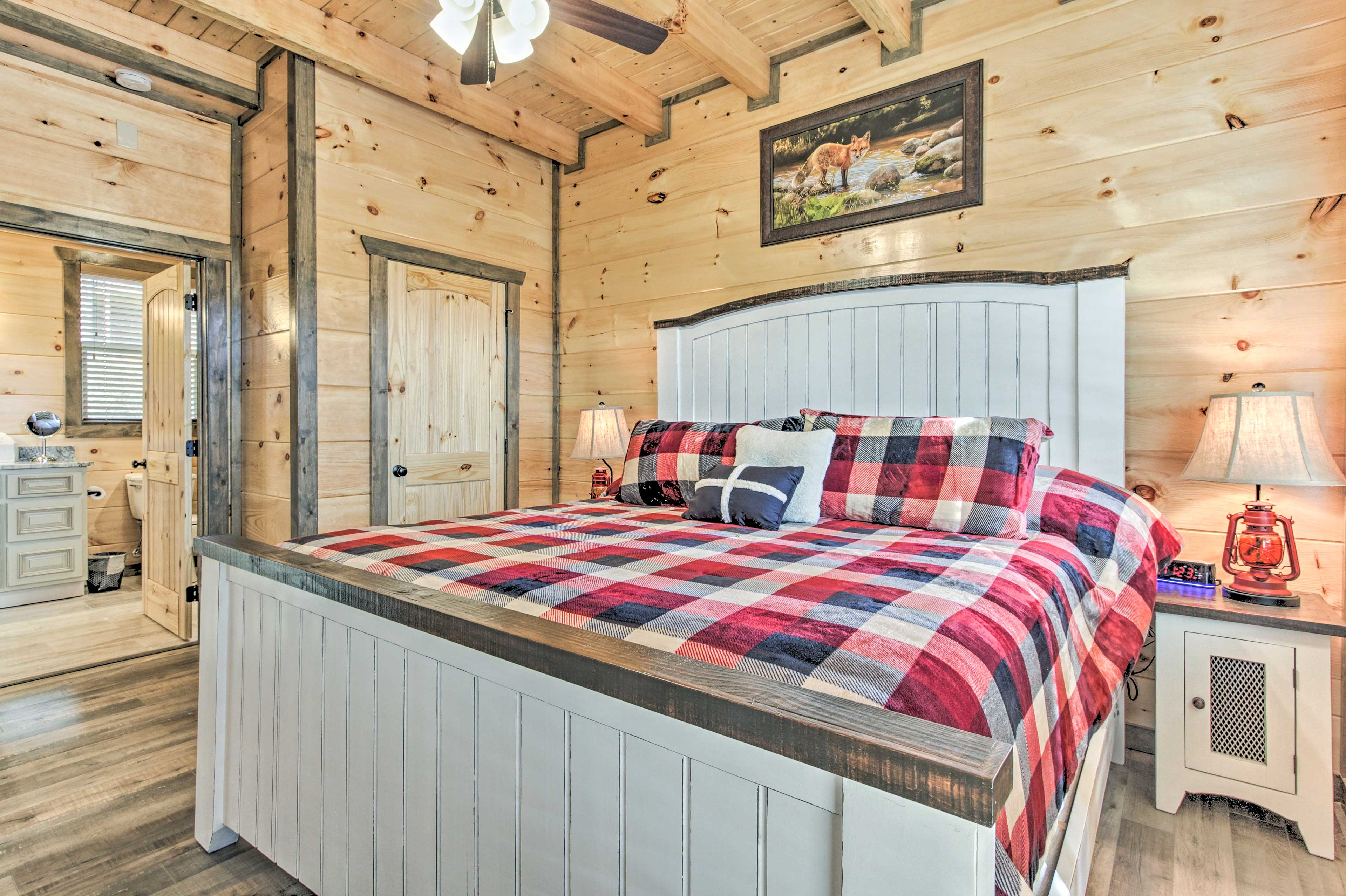 This master bedroom features a king bed.