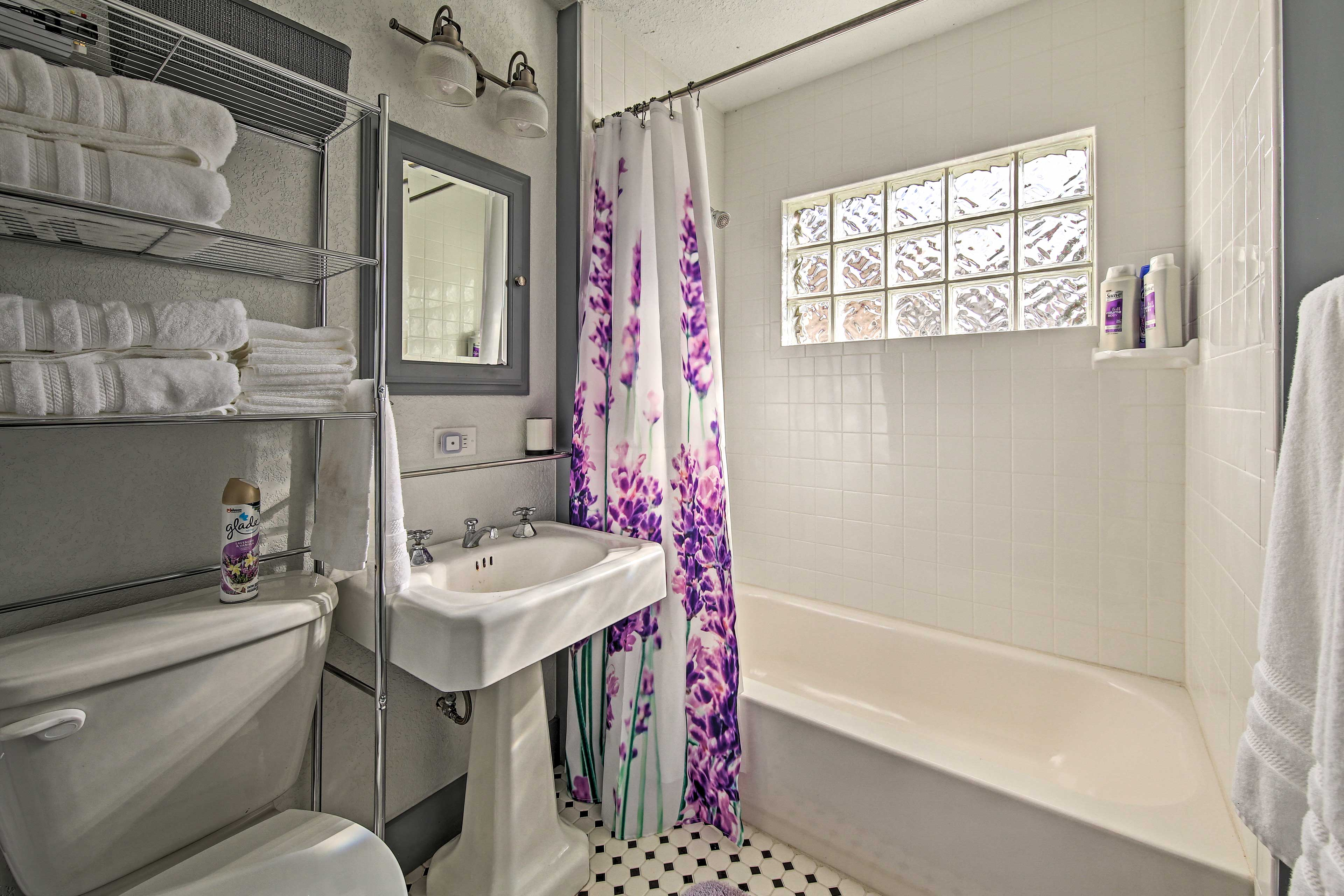 Freshen up in the bathroom.