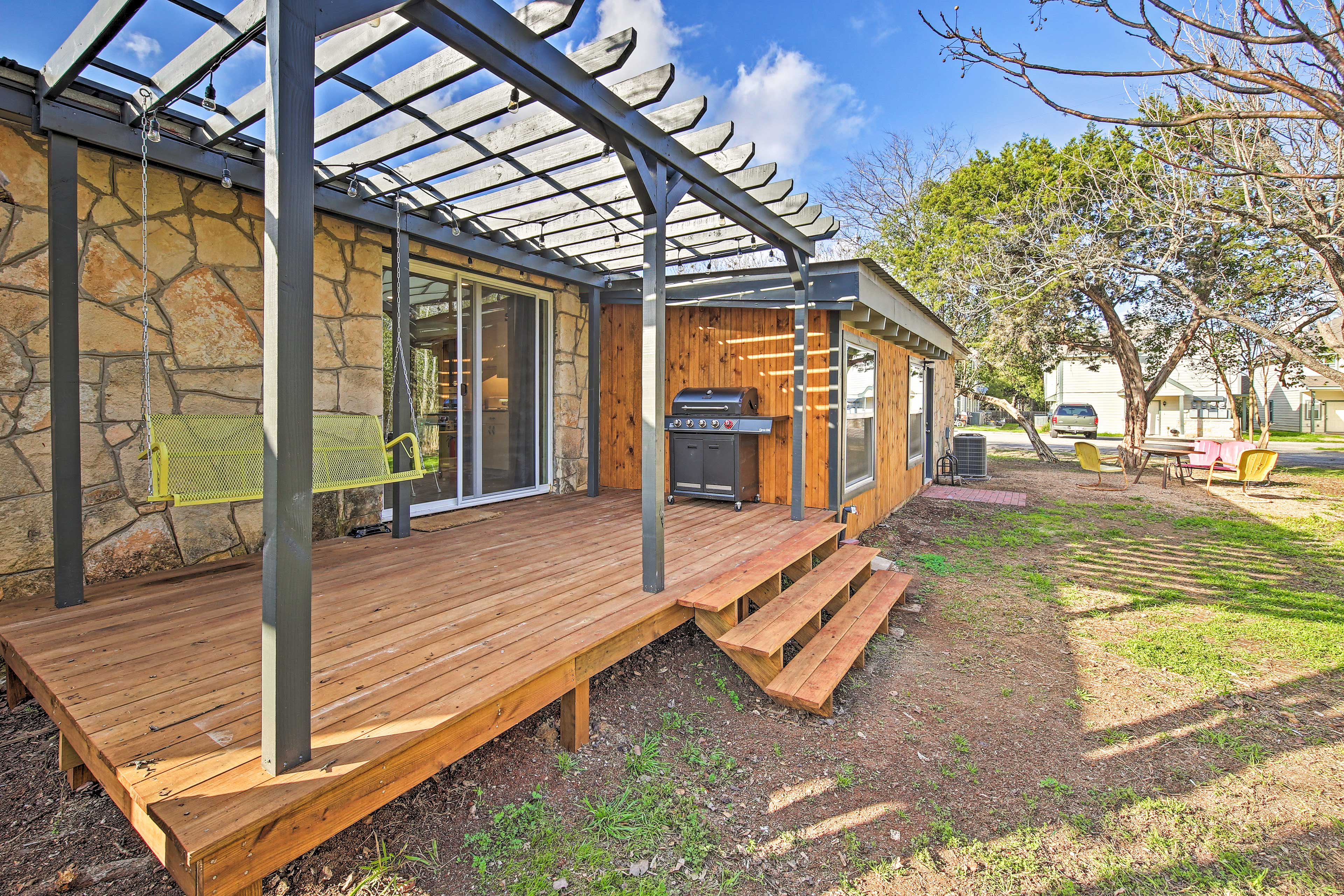 Step outside onto the shared back deck.