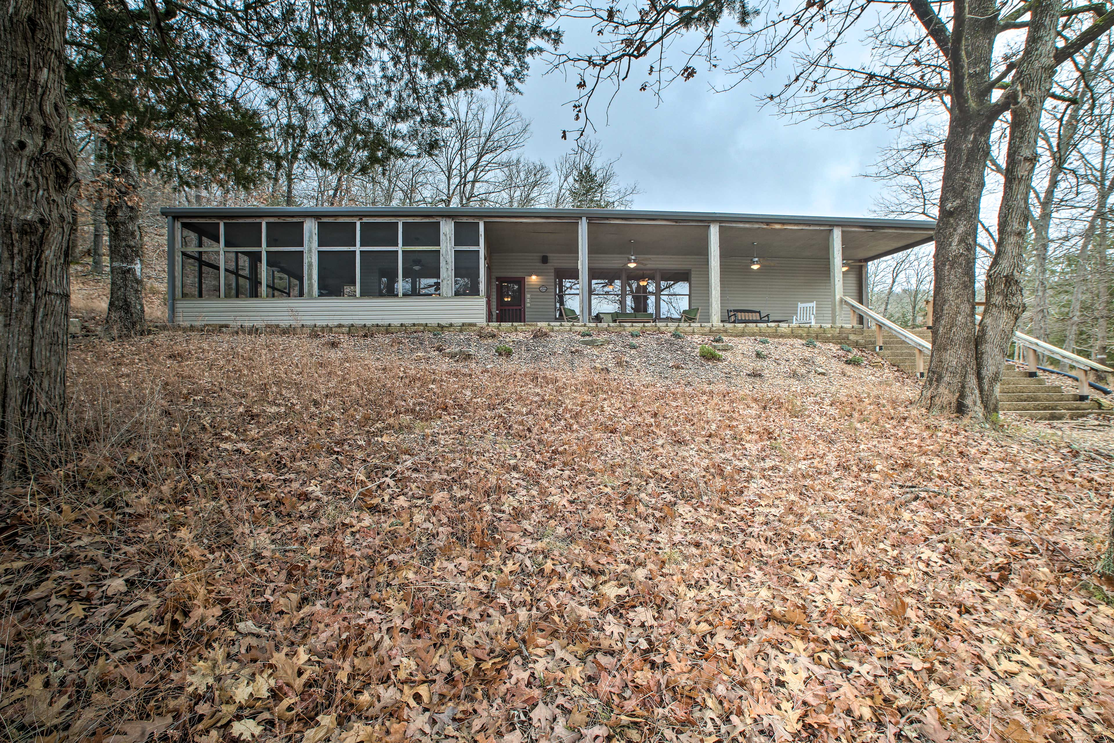 Just steps from the water, this spacious lakefront home is a great getaway.