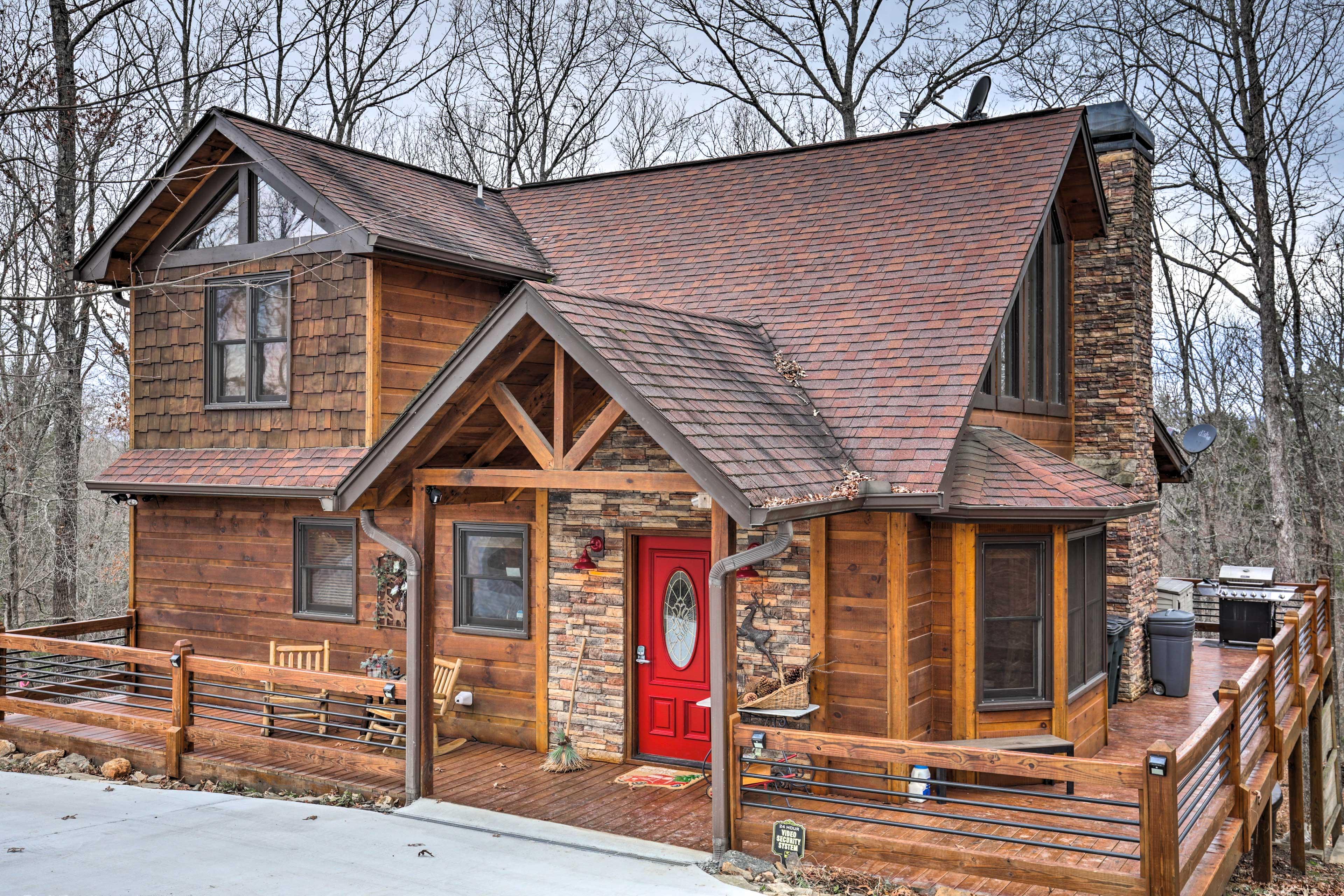 Cabin Exterior | Wraparound Deck | Seasonal Mountain Views