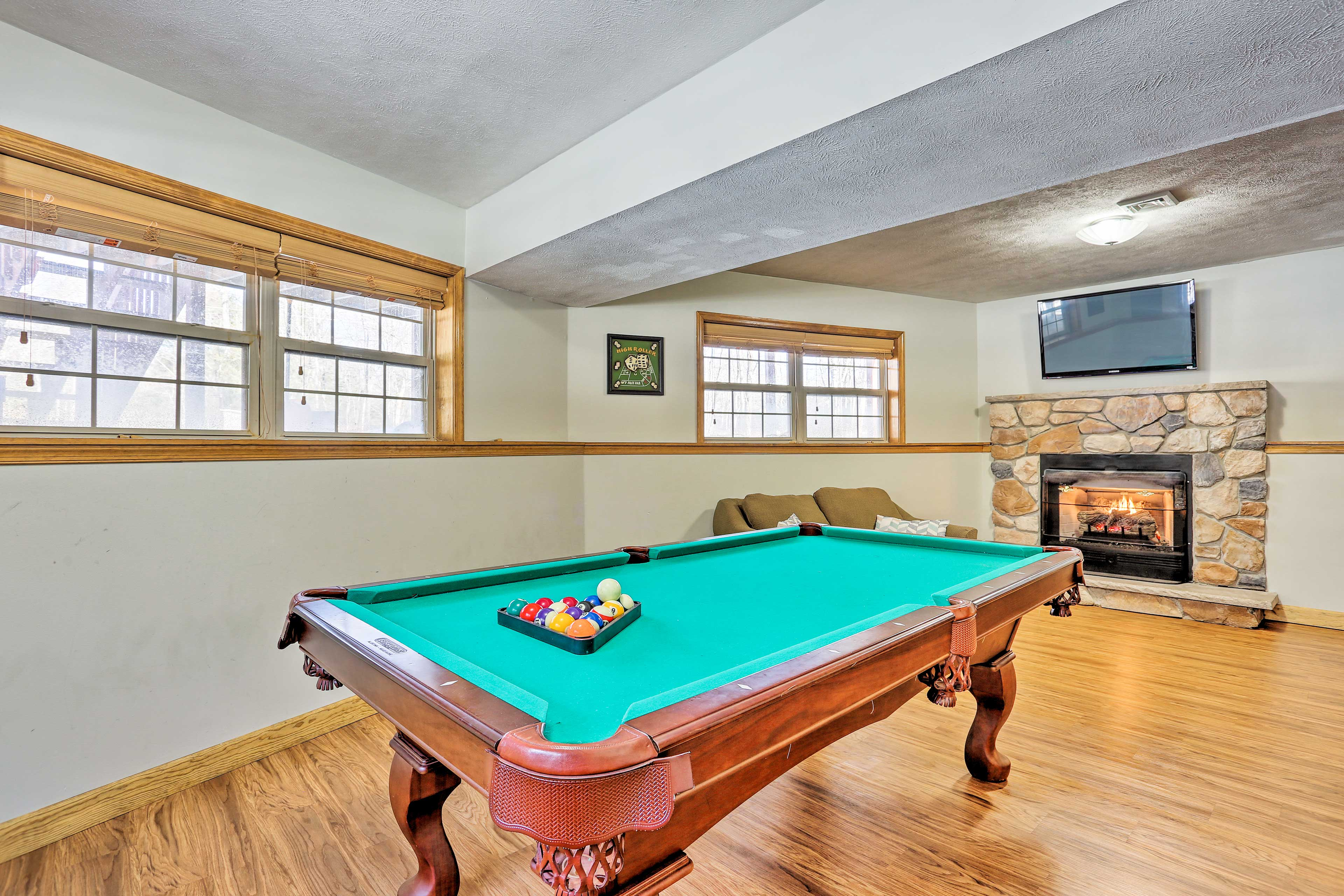 Challenge your loved one in a game of pool.