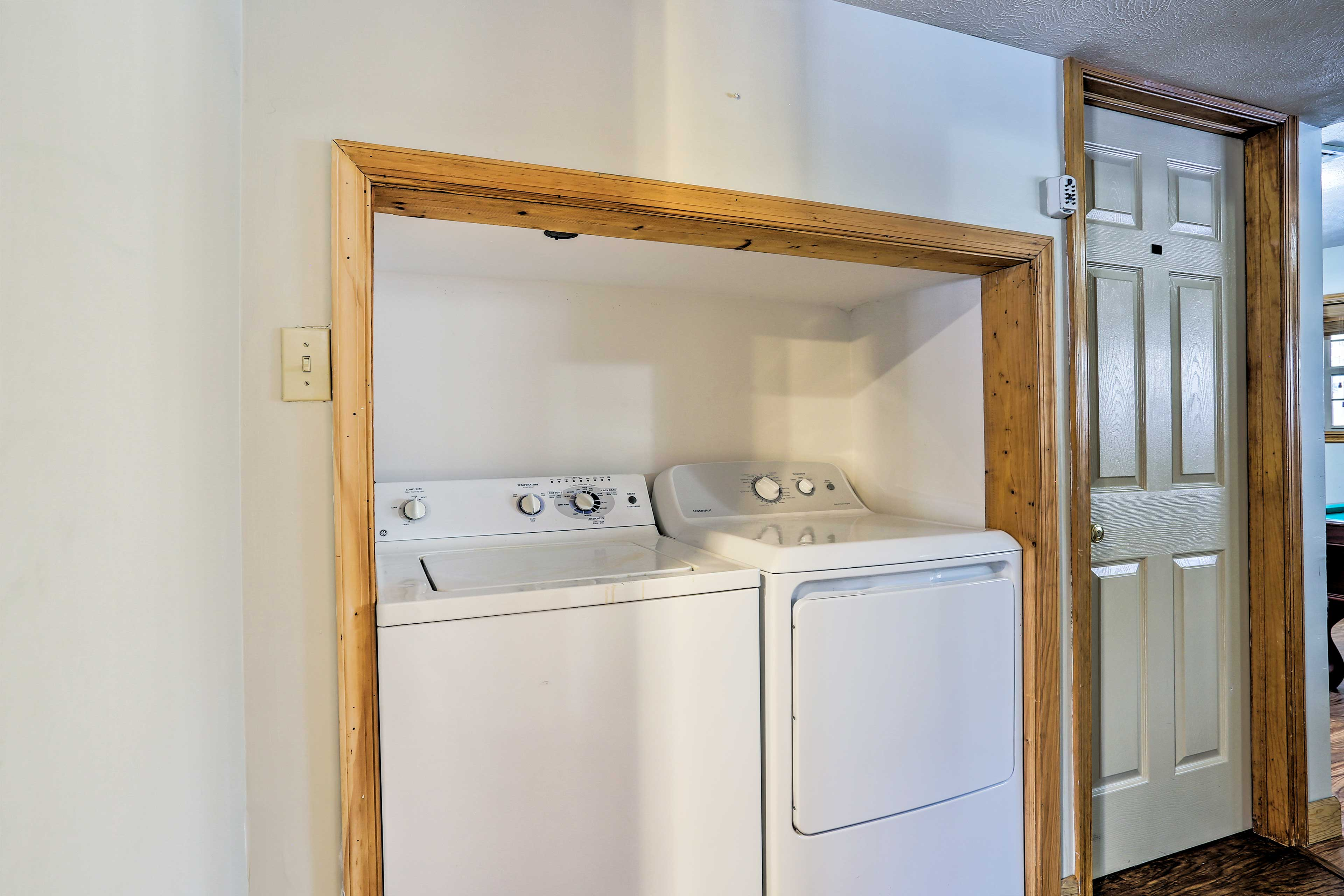 Take care of your clothes by using the convenient washer and dryer.