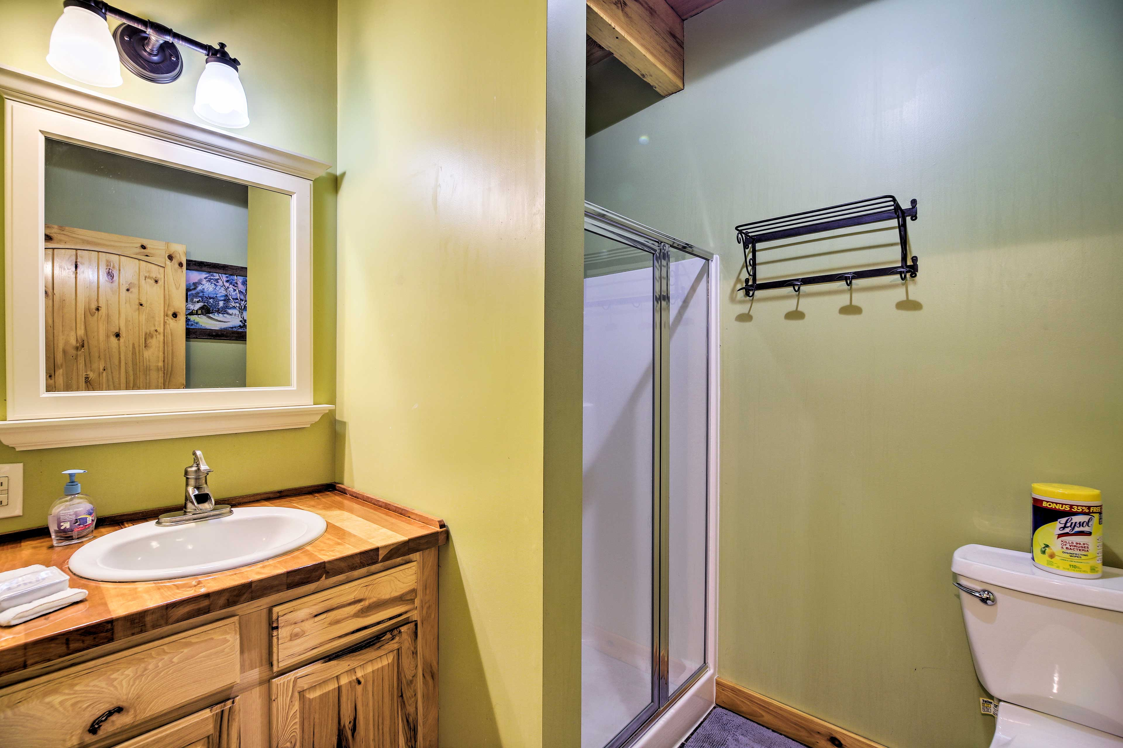 Get ready for the day in the first-floor bathroom.