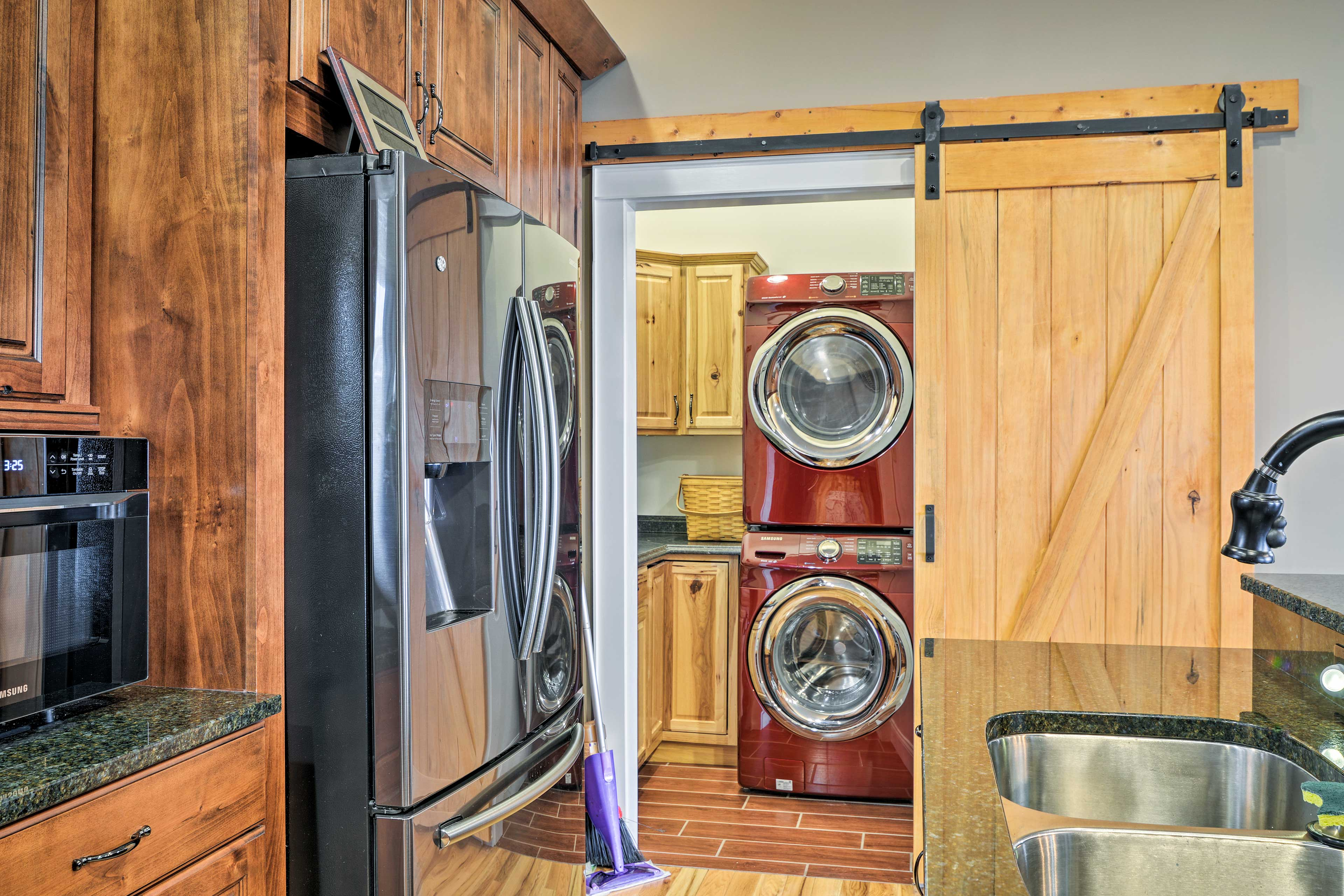 Keep your clothes fresh and clean with the home's washer and dryer.