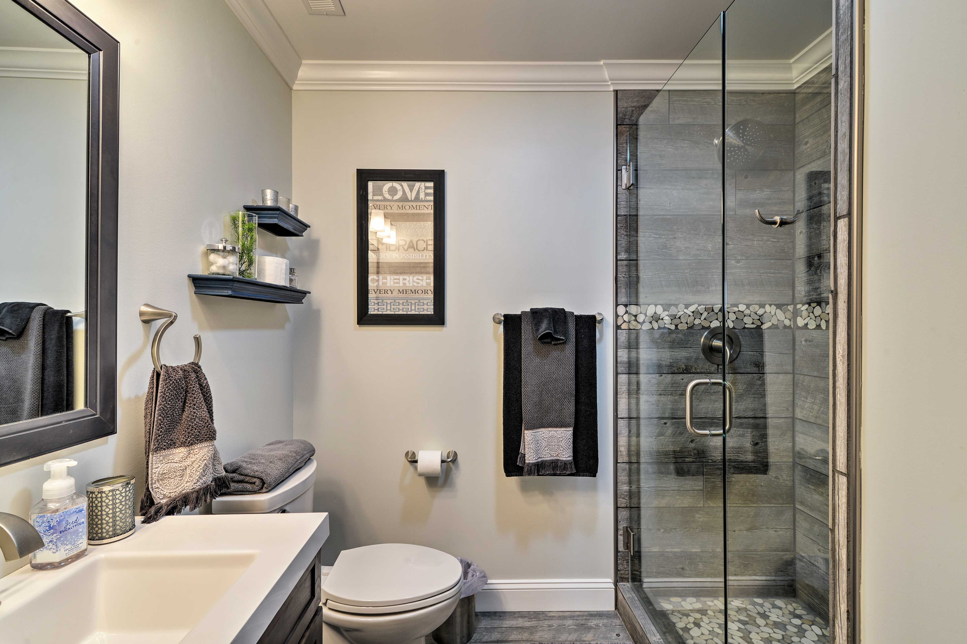Rinse off in the second full bathroom's walk-in shower.