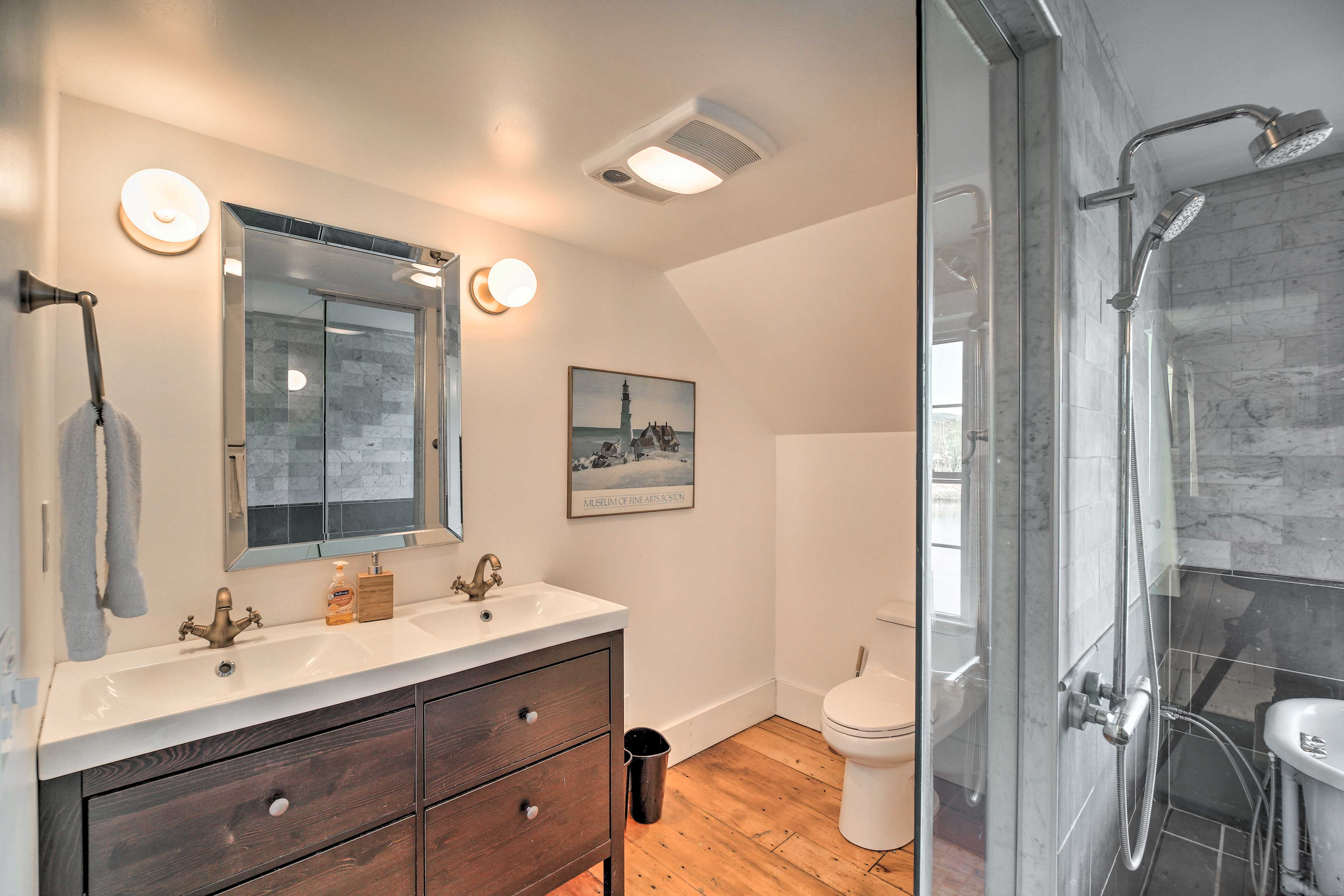 This luxury bathroom boasts double sinks.