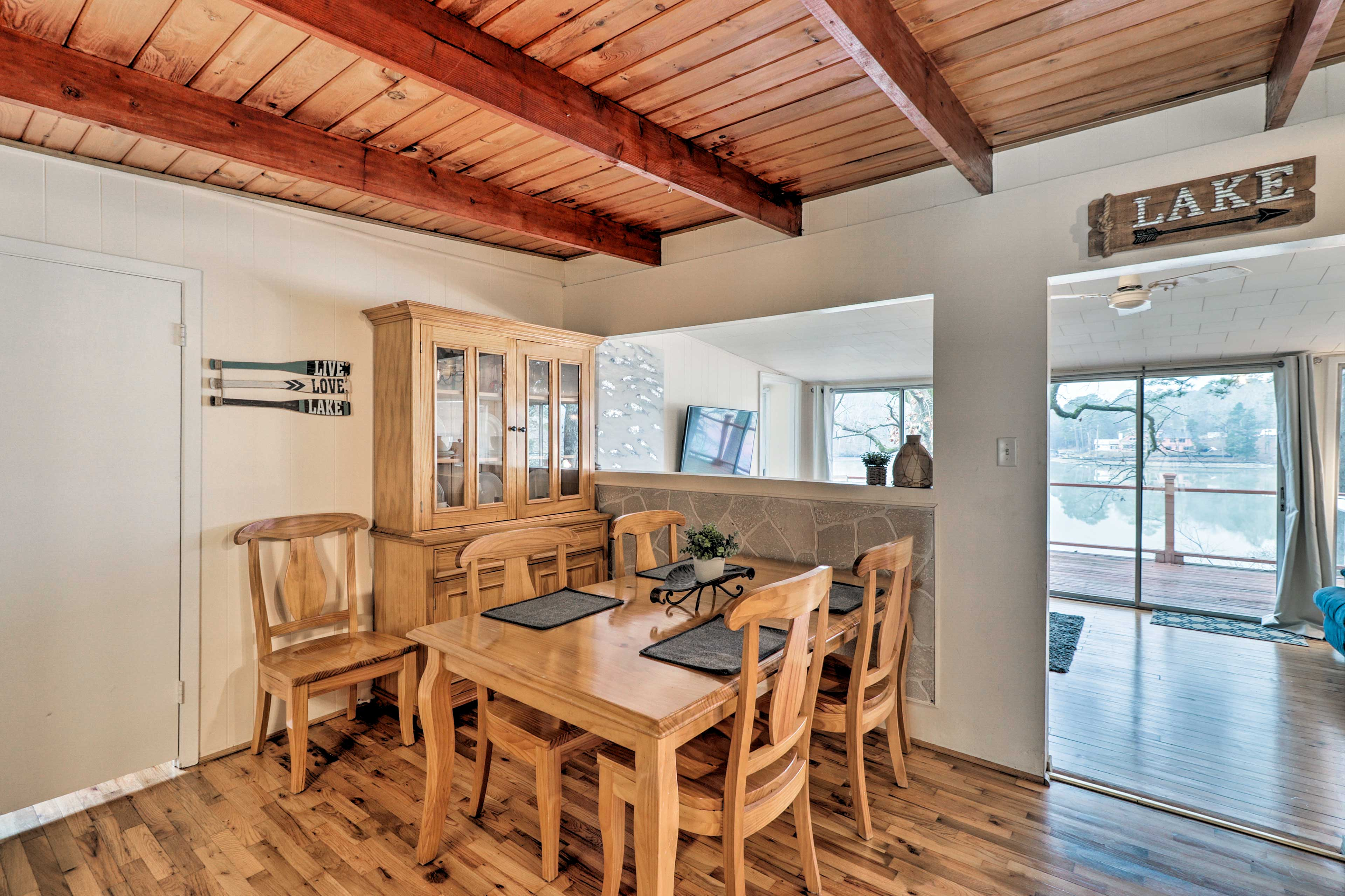 This newly renovated house has hardwood floors and unique wooden ceilings!