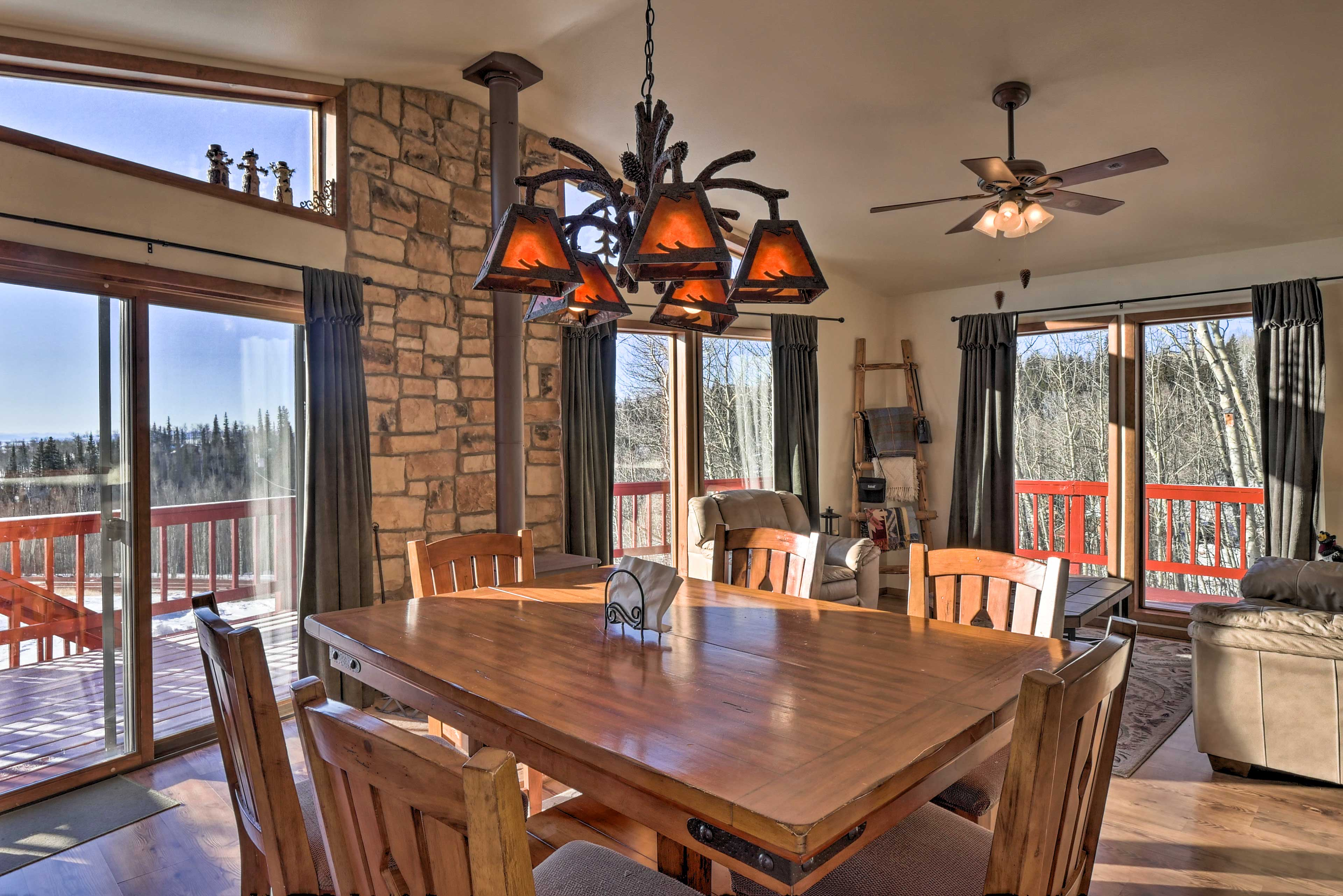 The vacation rental cabin is an ideal mountain escape.