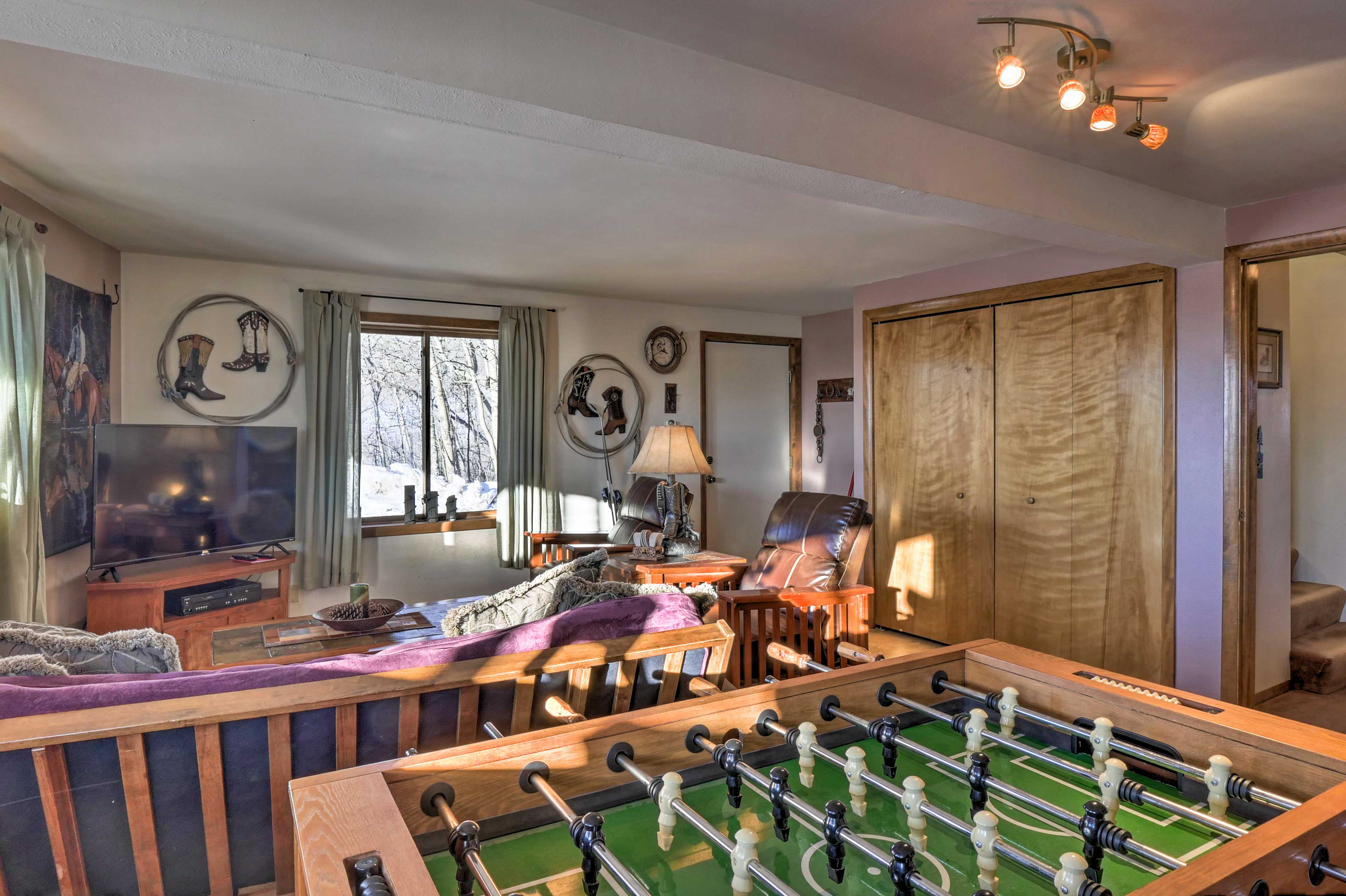 The space features a Foosball table!