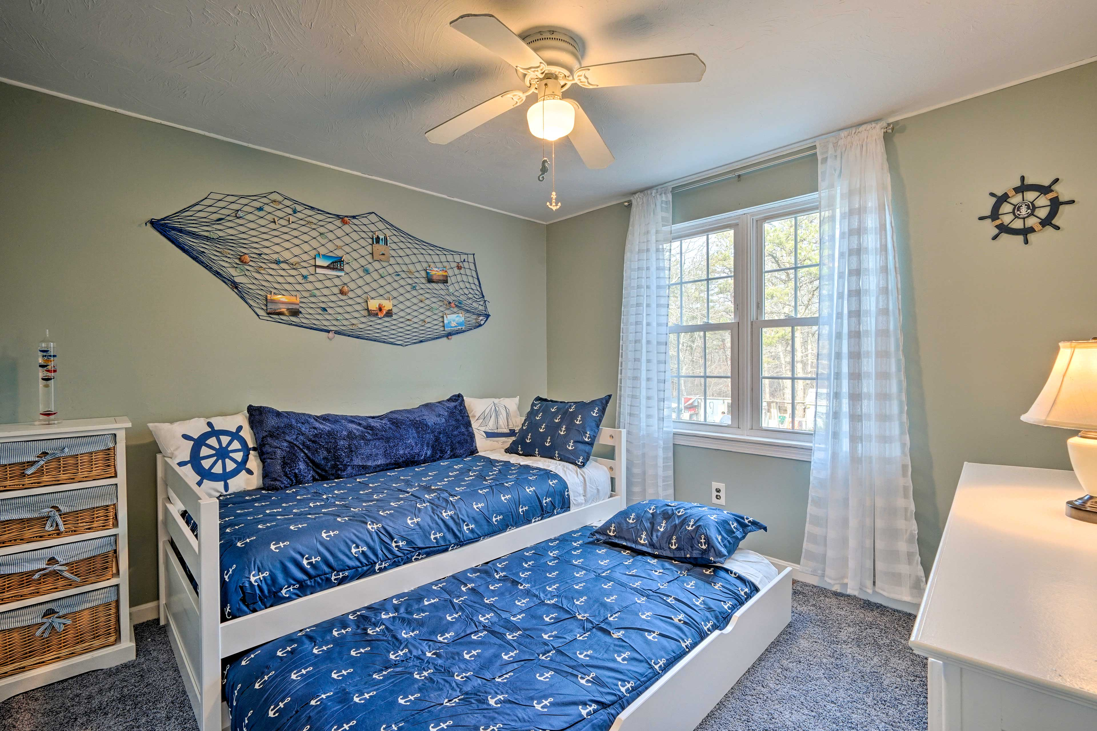 Put kids in the third bedroom with a twin day bed and twin trundle bed!