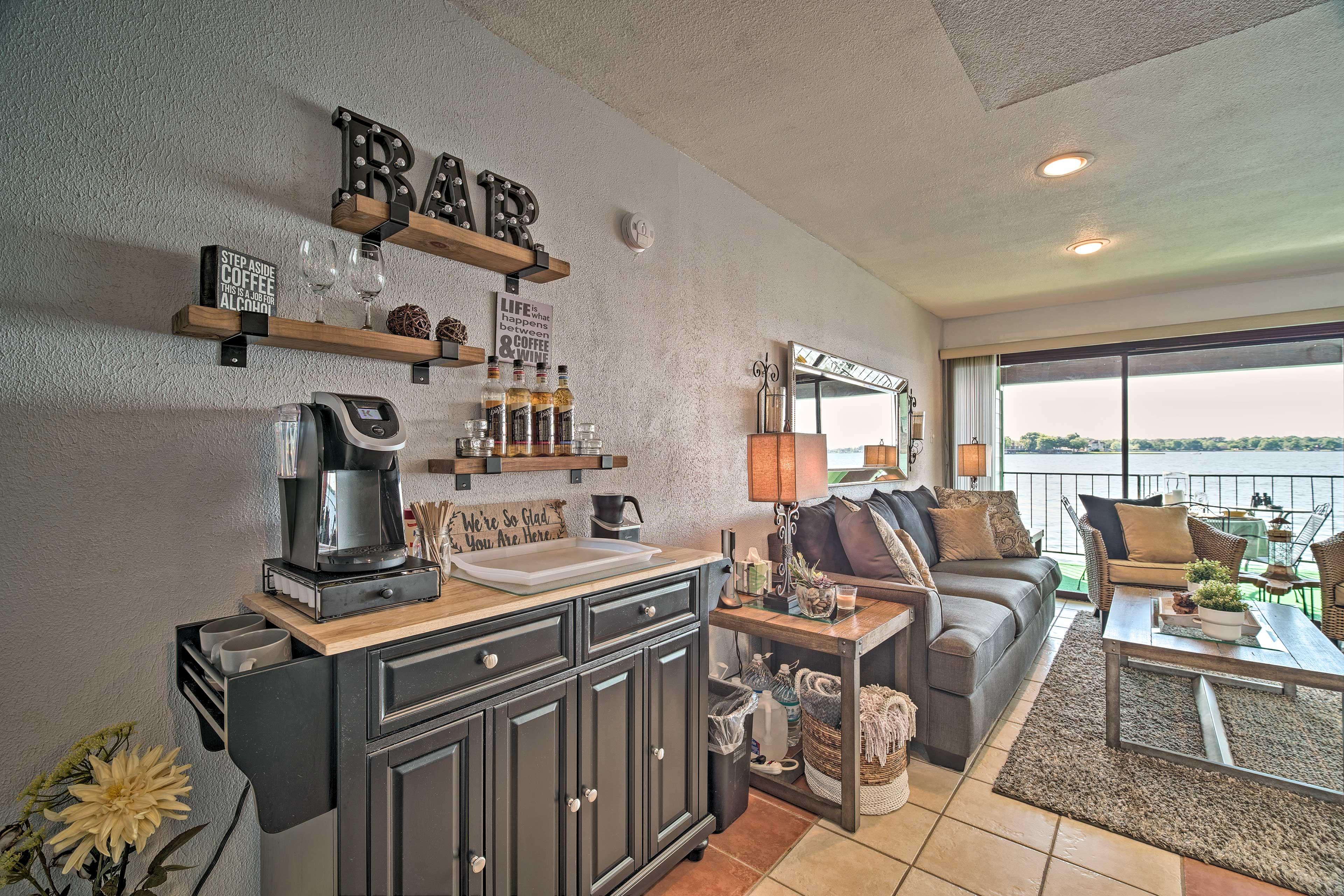 Living Room | Coffee Bar | Keurig Coffee Maker