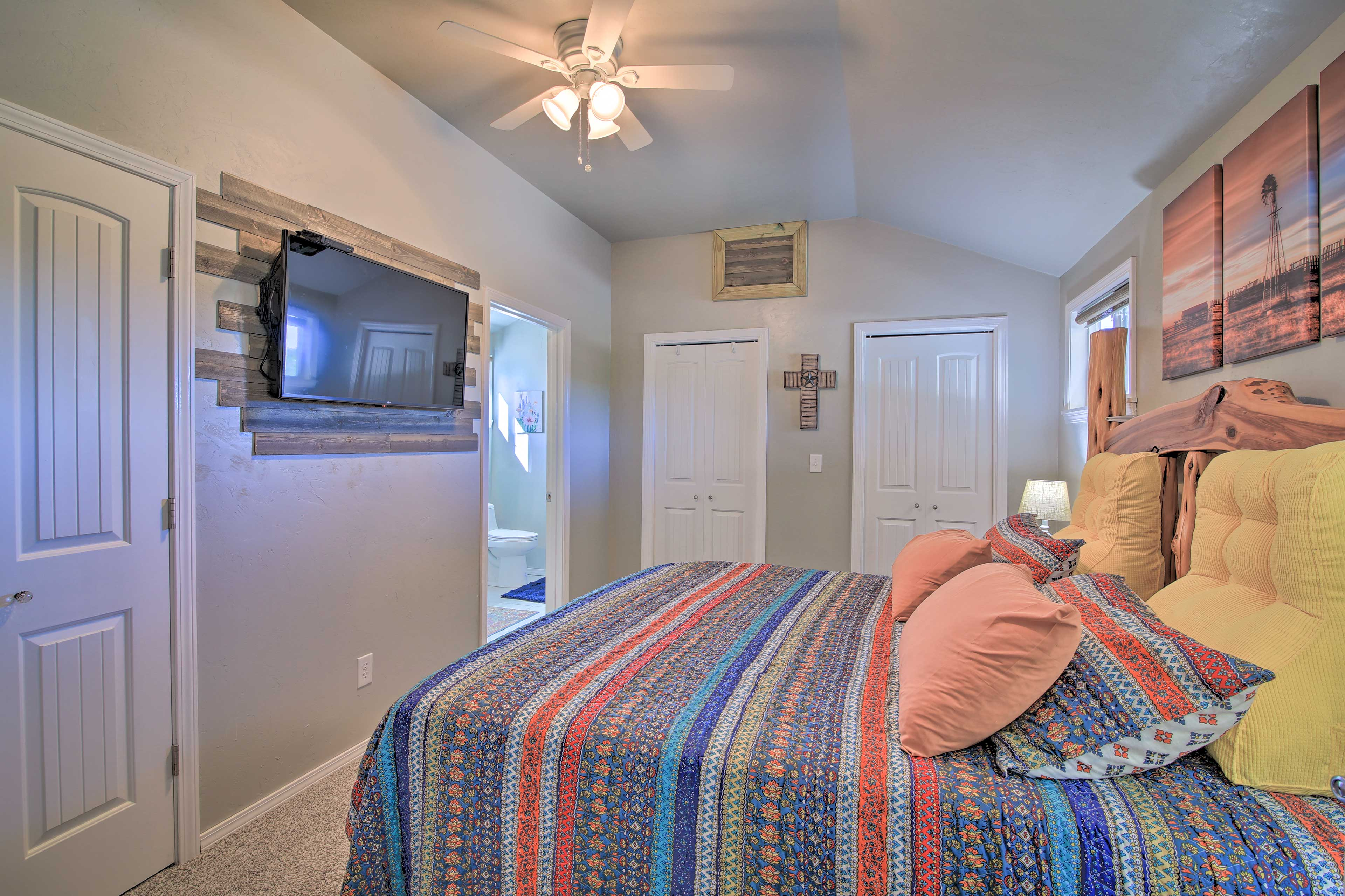 The master bedroom has a king bed and Smart TV so you can watch your shows!